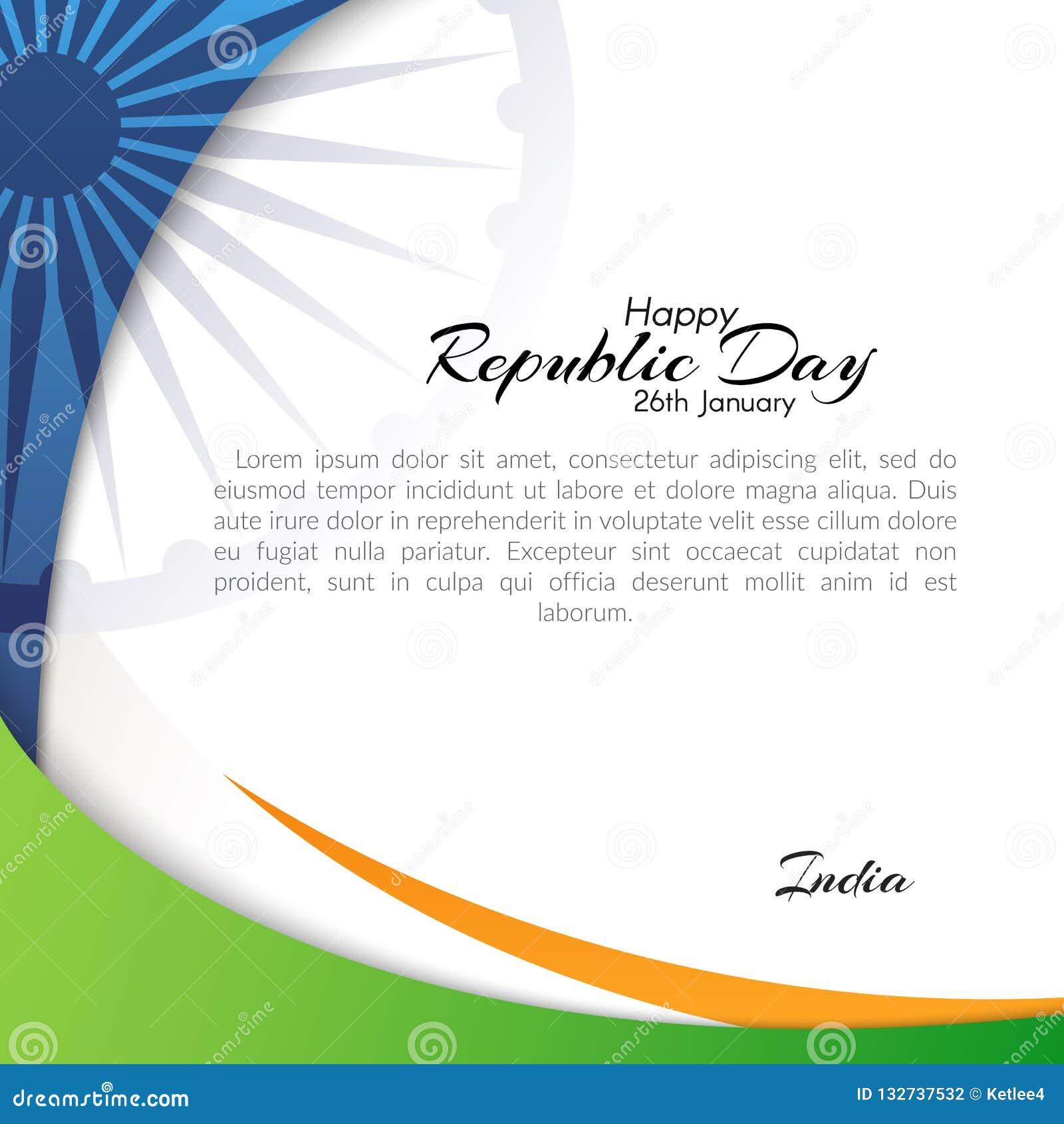 Знамя с текстом дня республики в Индии 26-ого января резюмирует предпосылку с пропуская линиями цветов национального флага