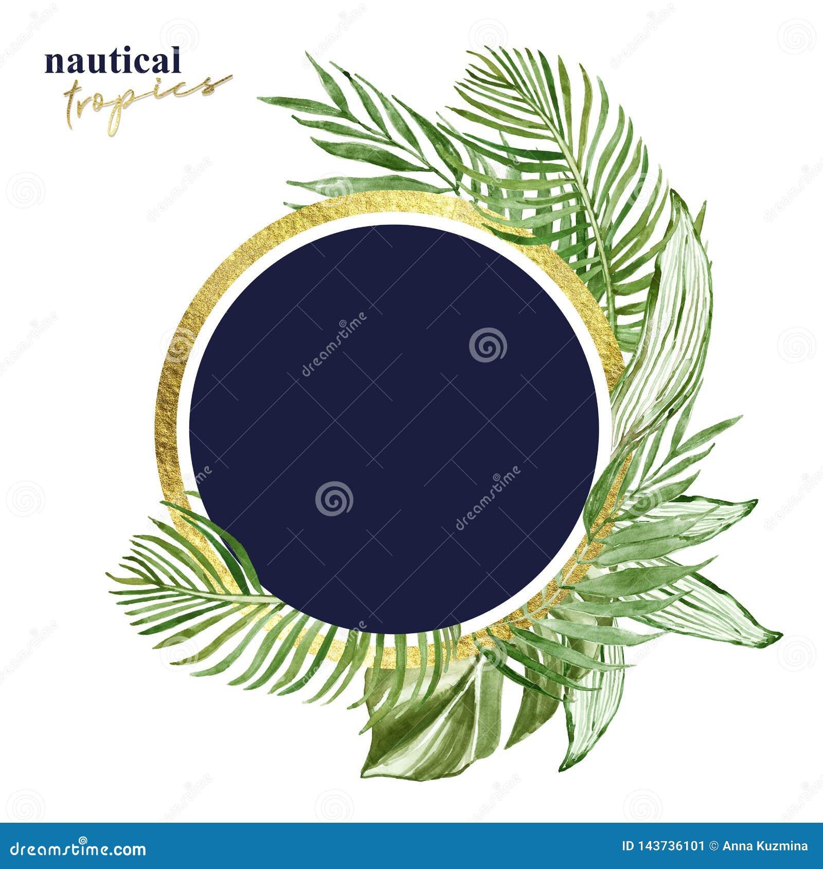 Знамя тропических листьев акварели круглое с изолированным космосом для текста, Зеленая экзотическая иллюстрация заводов Рамка зо