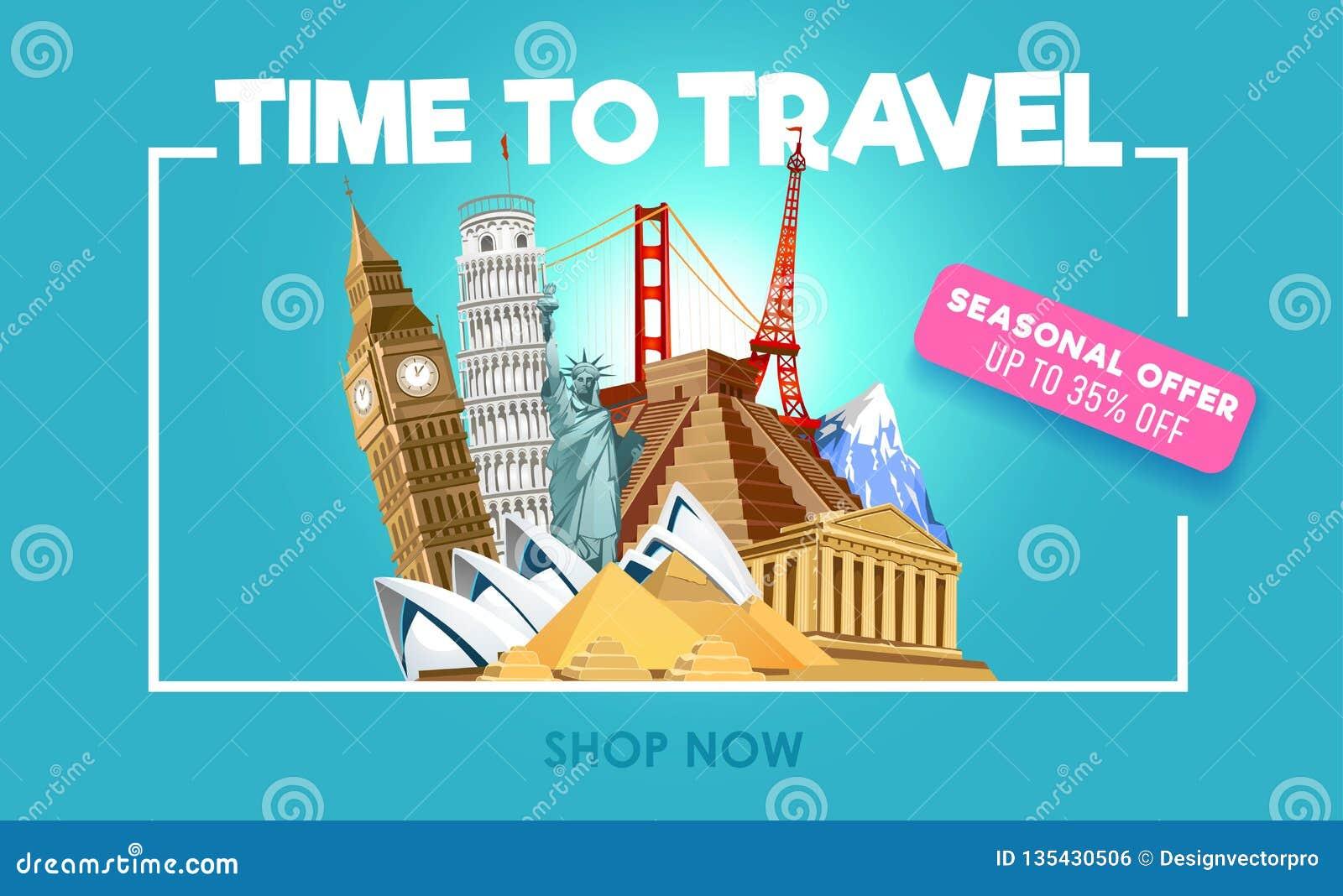 Знамя promo перемещения со скидкой Время путешествовать вдохновляющий плакат promo также вектор иллюстрации притяжки corel