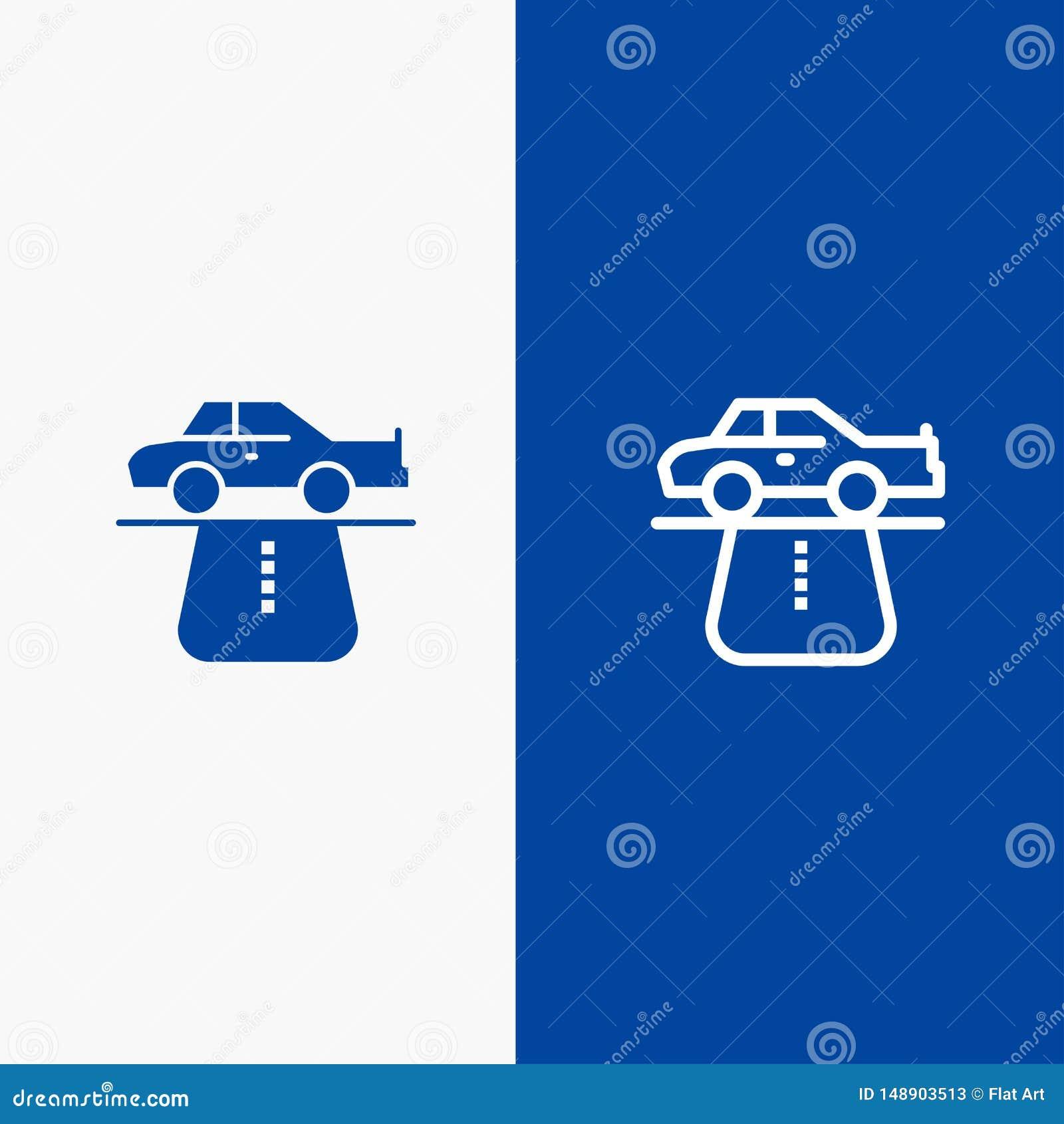 Значка линии и глифа знамени твердого значка преимущества, власти, автомобиля, ковра, линии комфорта и глифа знамя голубого тверд