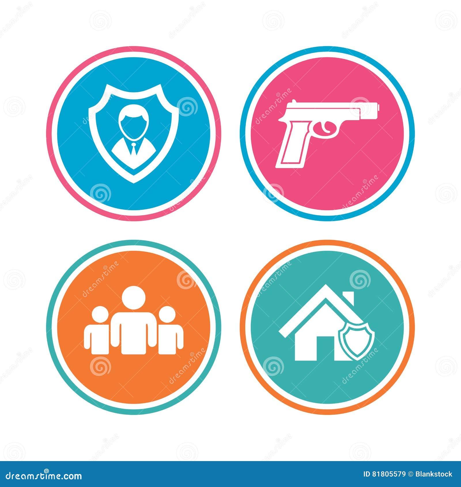 Значки агентства по безопасности Домашнее предохранение от экрана