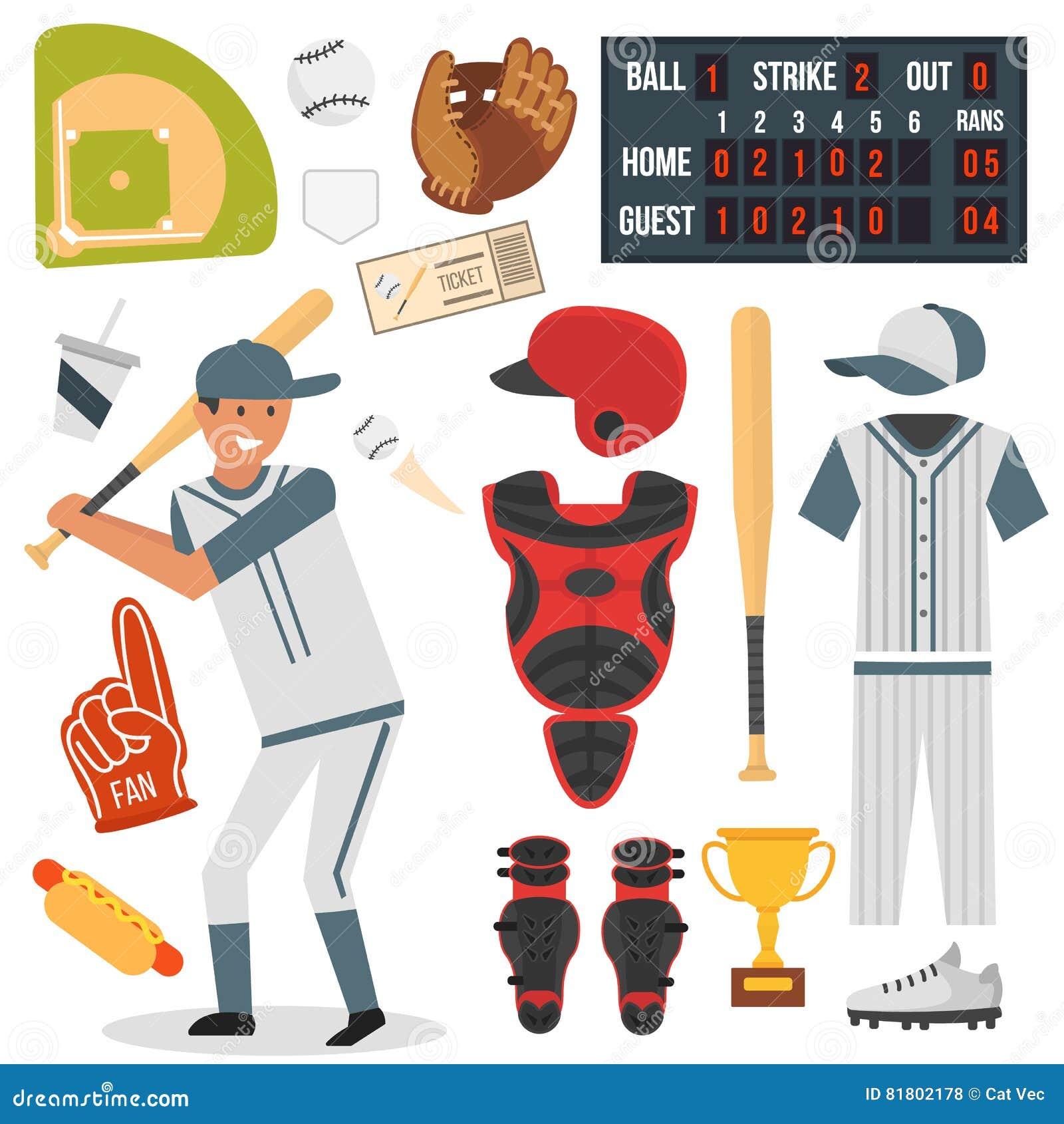 Значки бейсболиста шаржа бить дизайн вектора