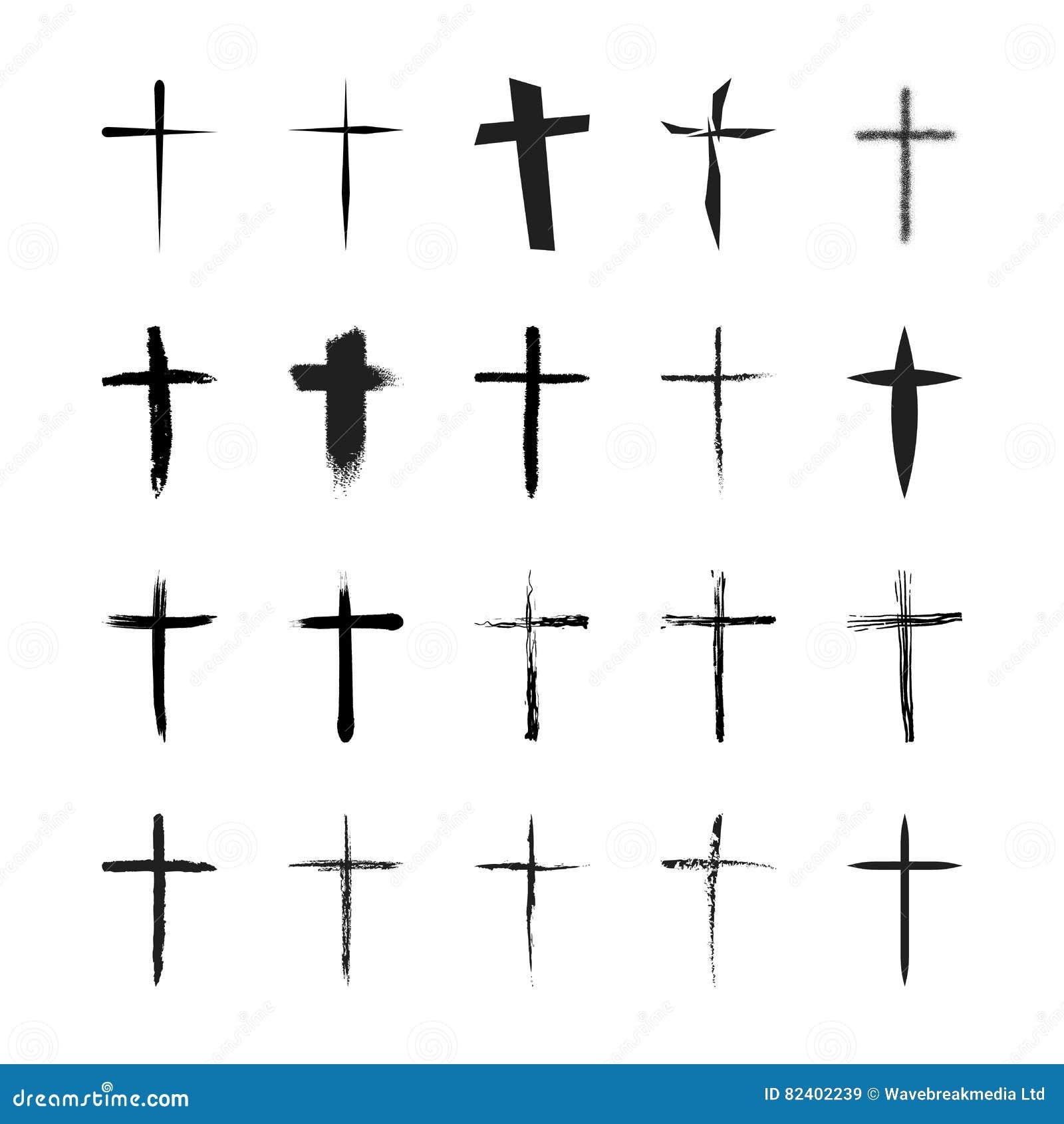 Значки вектора установленные для креста вероисповедания