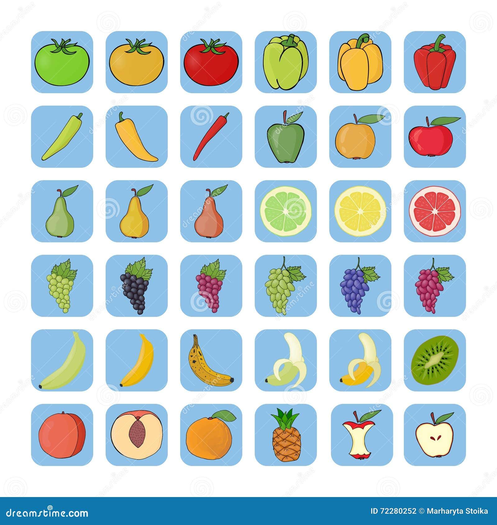 Download Значки вектора фруктов и овощей Иллюстрация вектора - иллюстрации насчитывающей померанцово, свеже: 72280252
