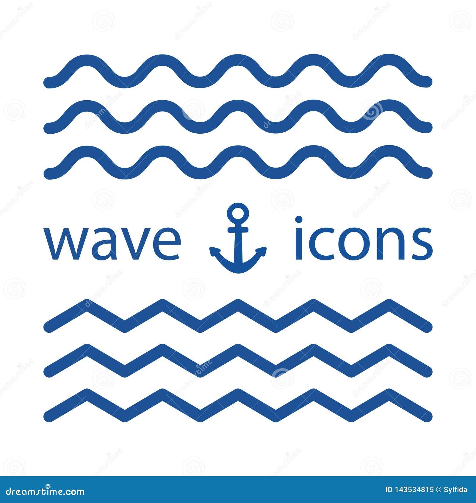 Значки волны голубые также вектор иллюстрации притяжки corel