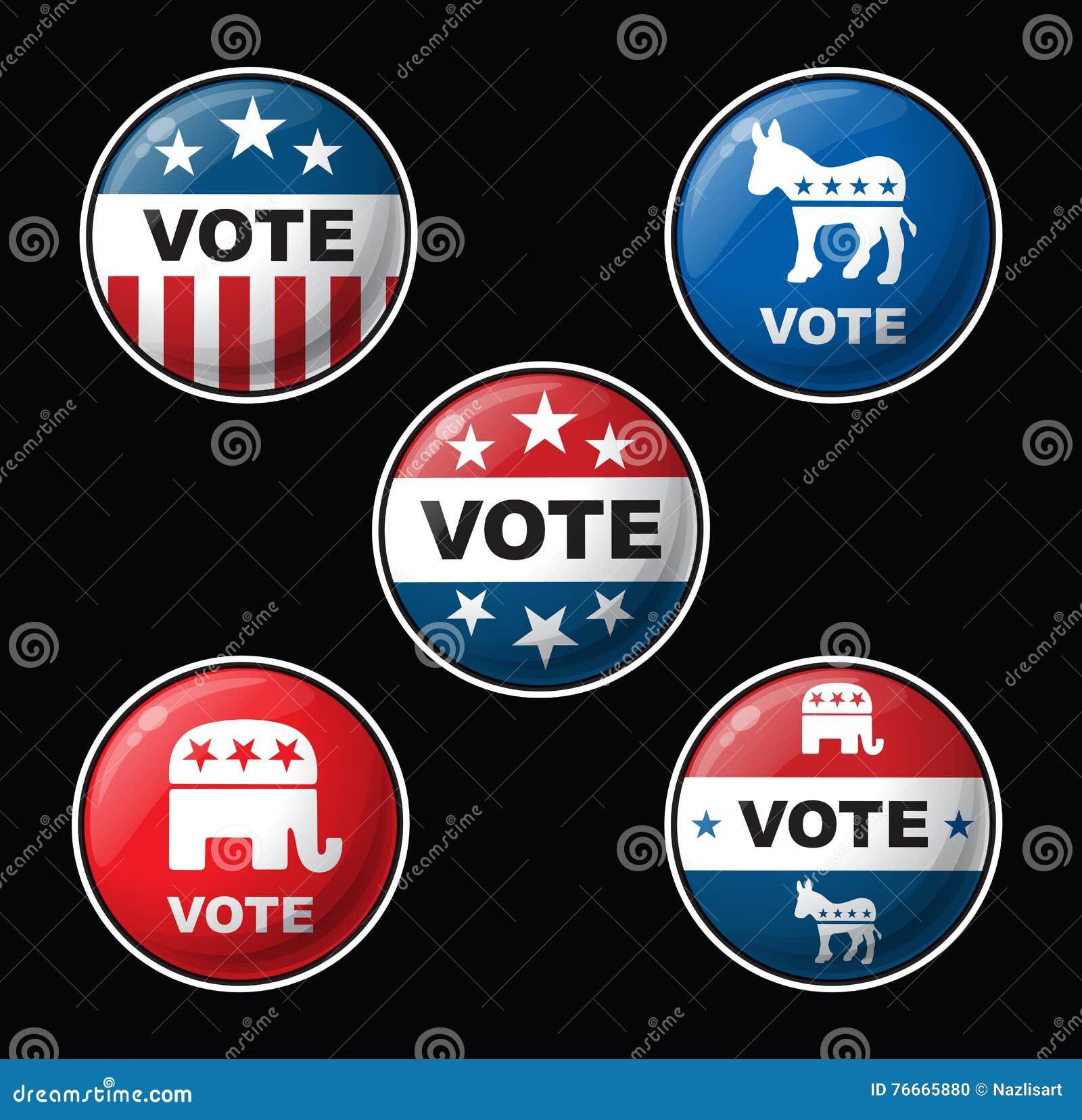 Значки голосования - американские республиканец & Демократические партии