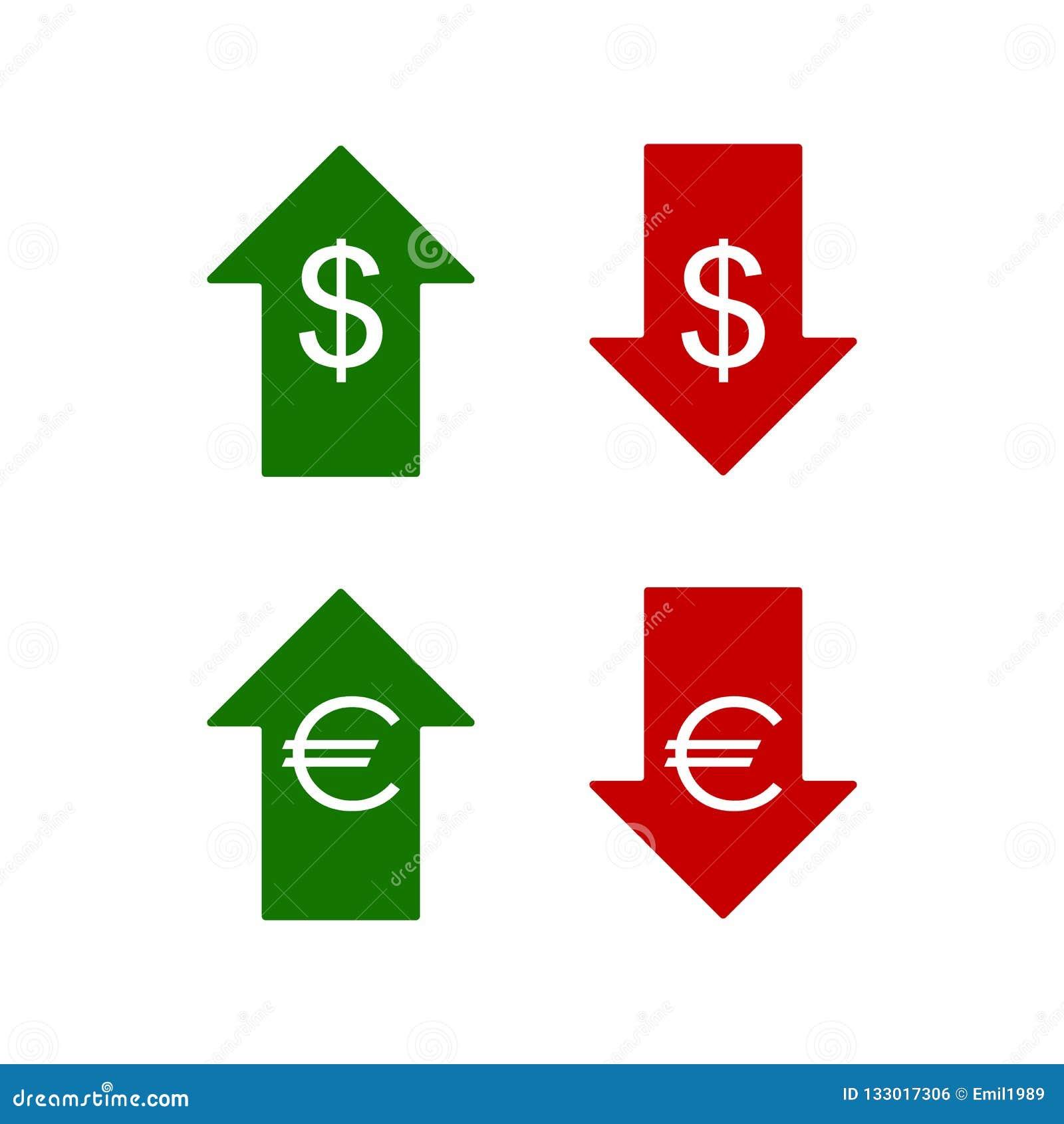 Значки евро и доллара вниз вверх