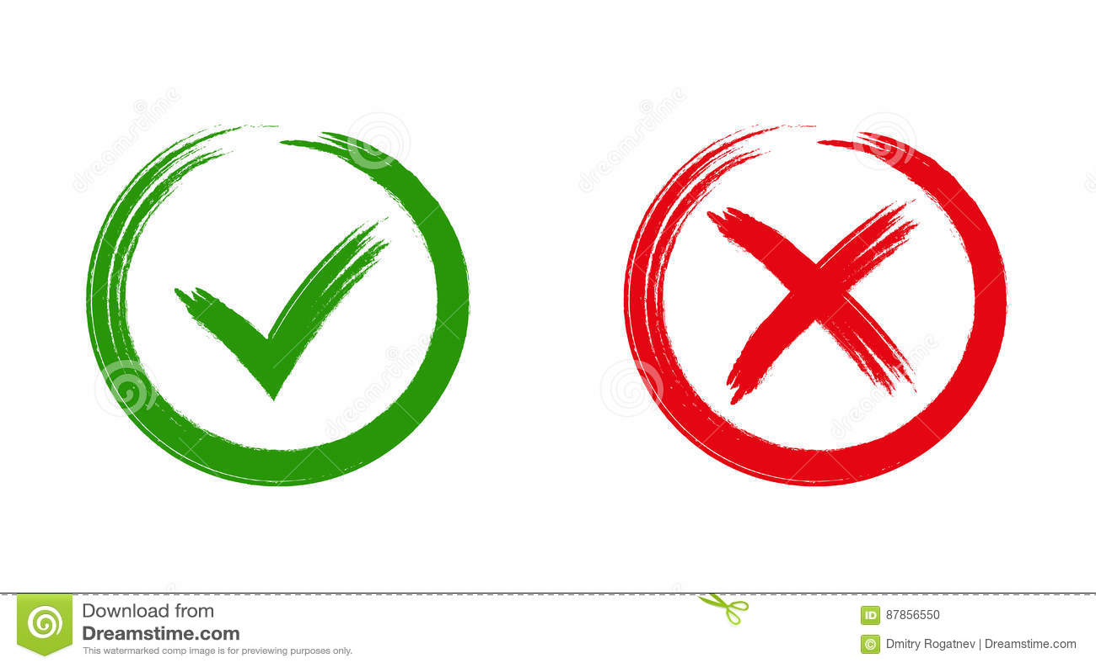 Значки зеленой контрольной пометки ОДОБРЕННЫЕ и красные x,