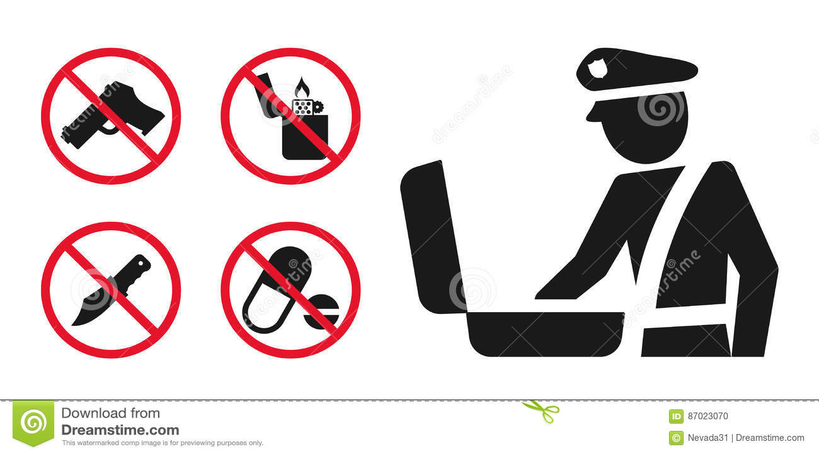 Значки знака и запрета участка регулирования таможен