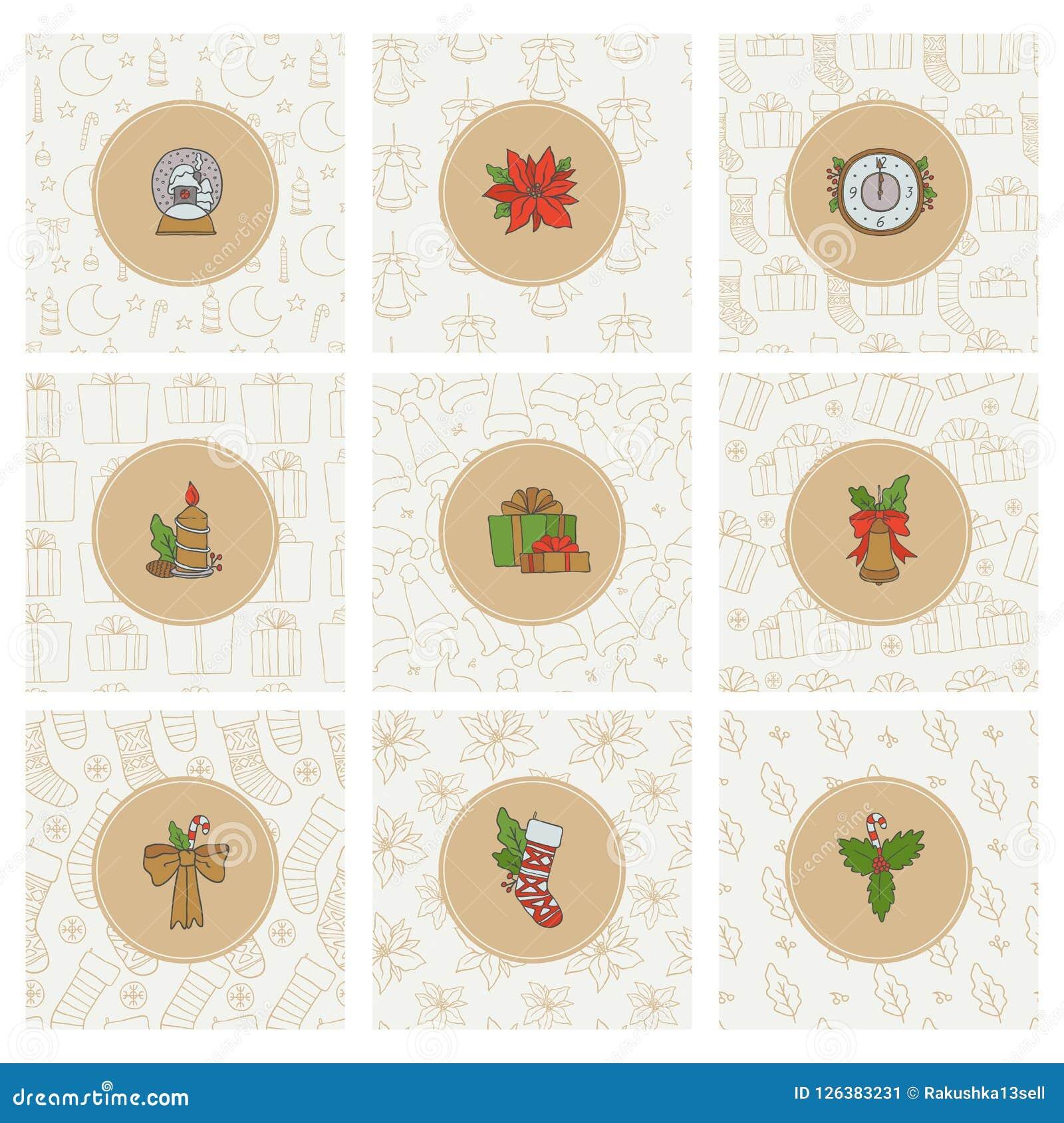 Значки золота рождества и Нового Года и безшовные картины Предпосылки праздника стикеров вектора установленные круглые с носками