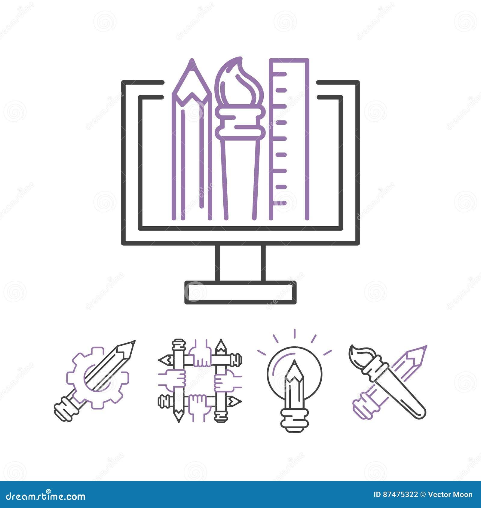 Значки искусства установили кнопки творческих способностей пиктограммы символов дизайна иллюстрации вектора собрание линейной худ