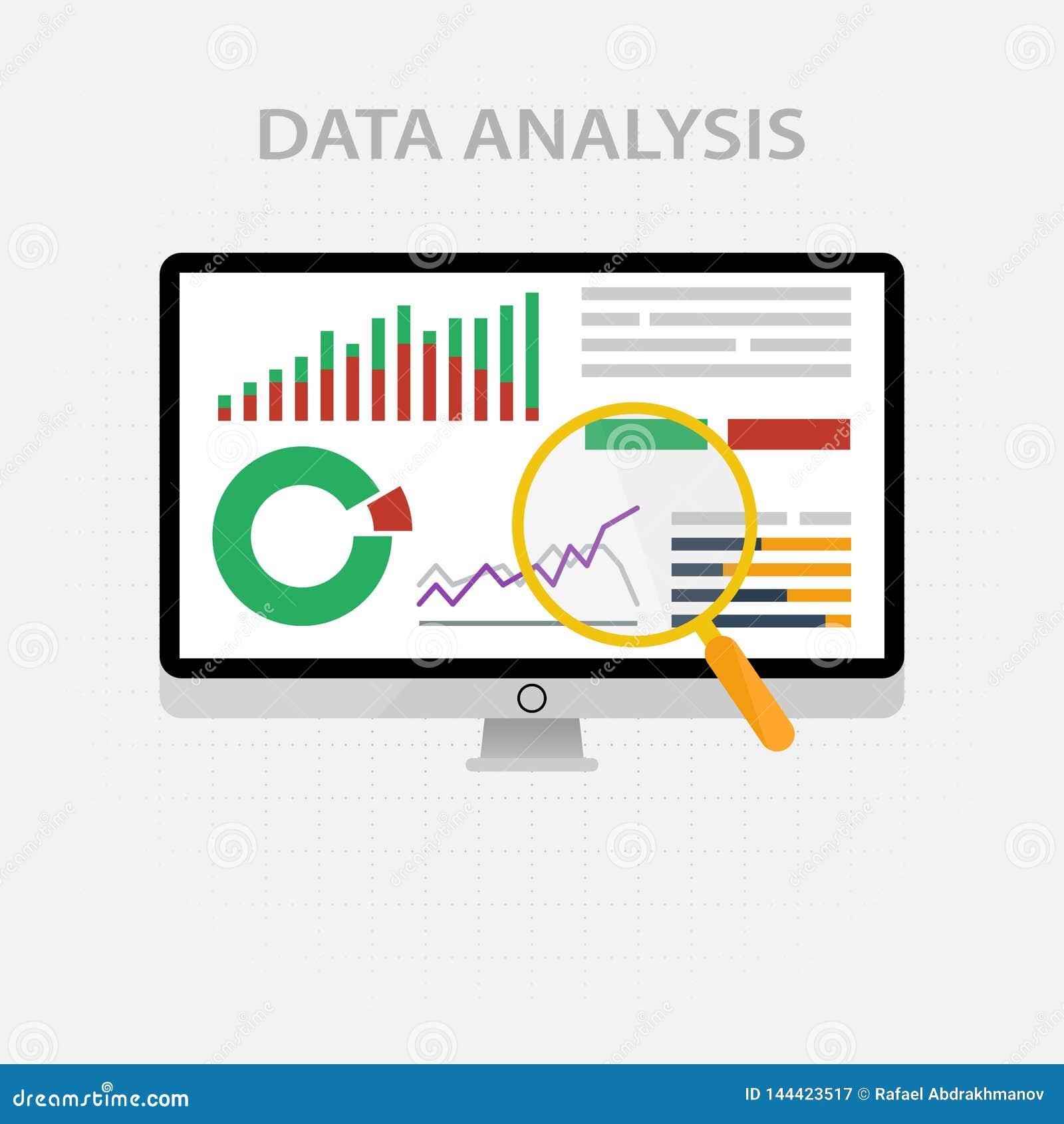Значки и знаки вектора для концепции управления и маркетинга infographic большого анализа данных и финансового дела