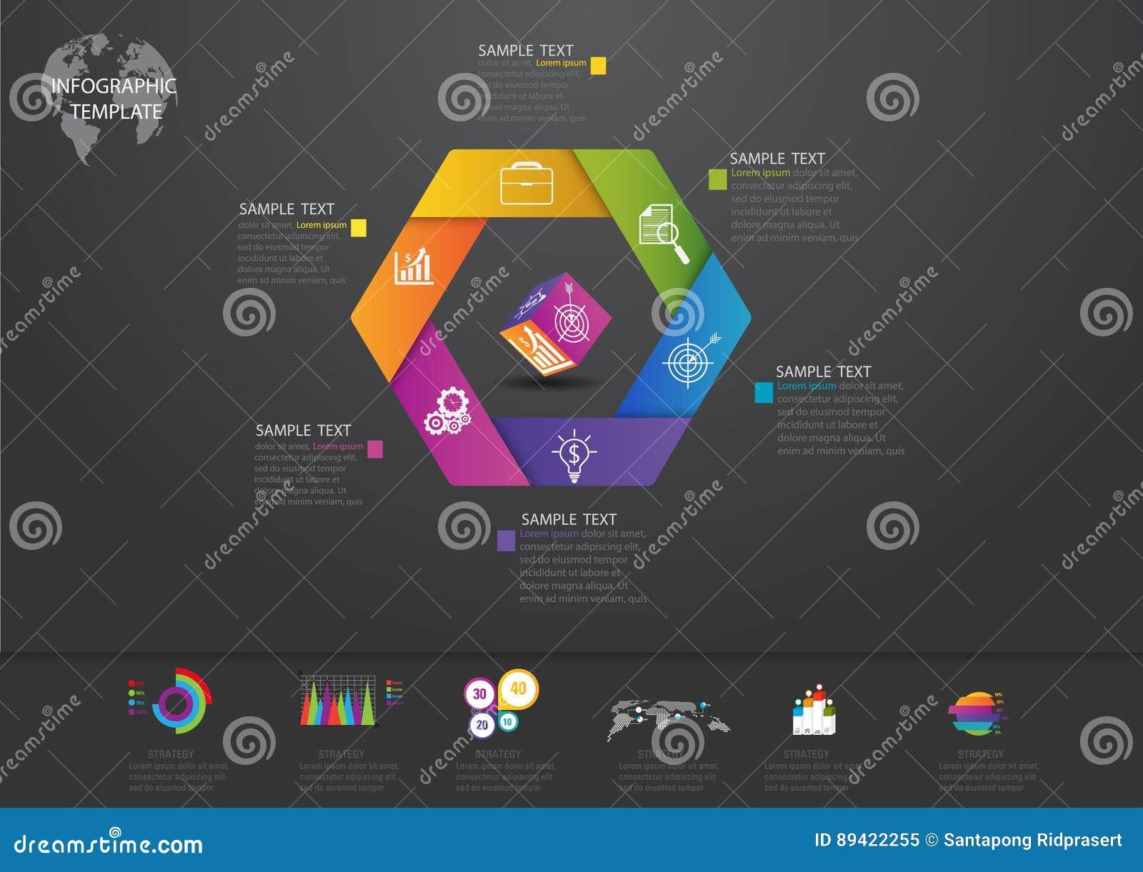Значки и Busi маркетинга дизайна и шаблона Infographic
