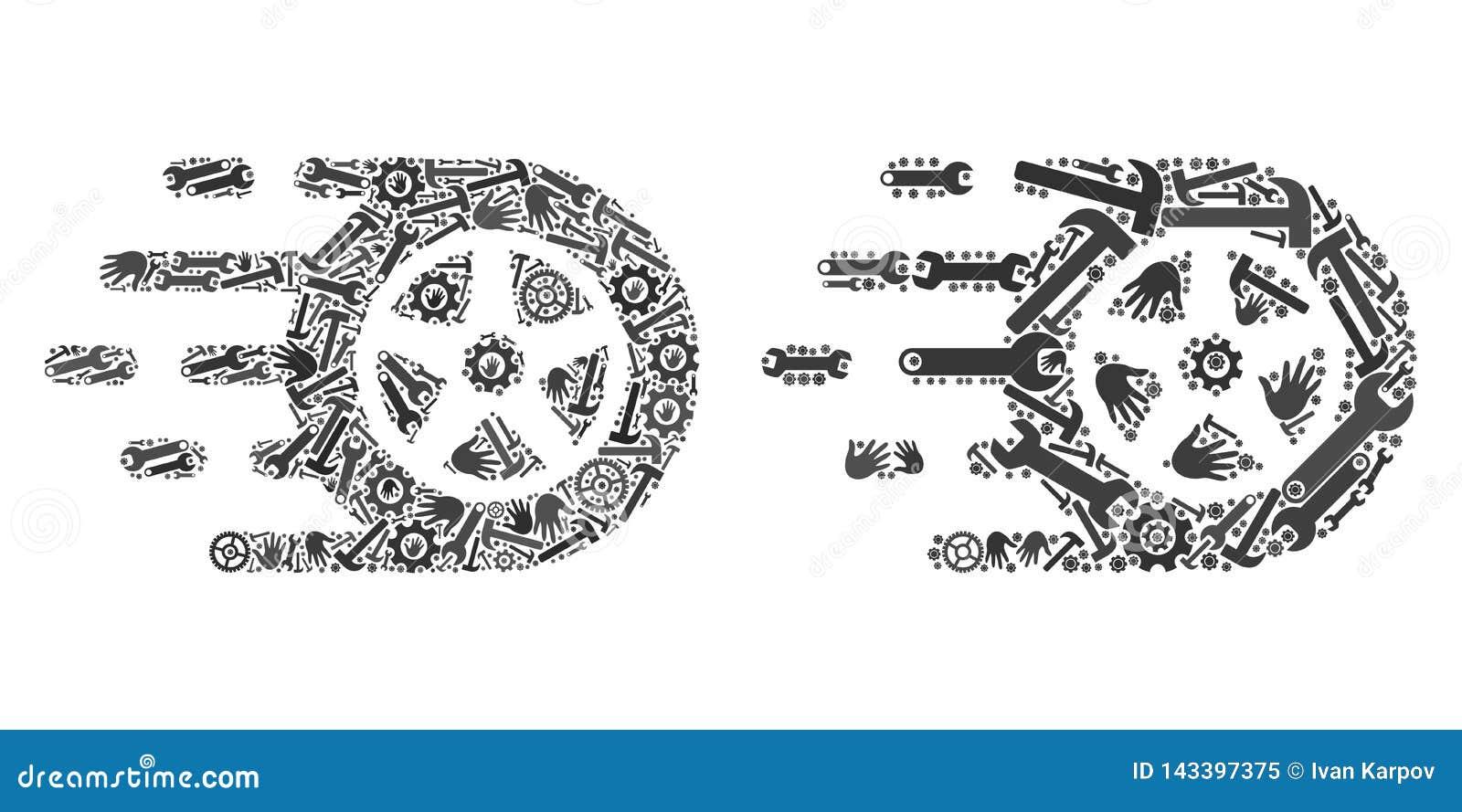 Значки колеса автомобиля мозаики инструментов обслуживания
