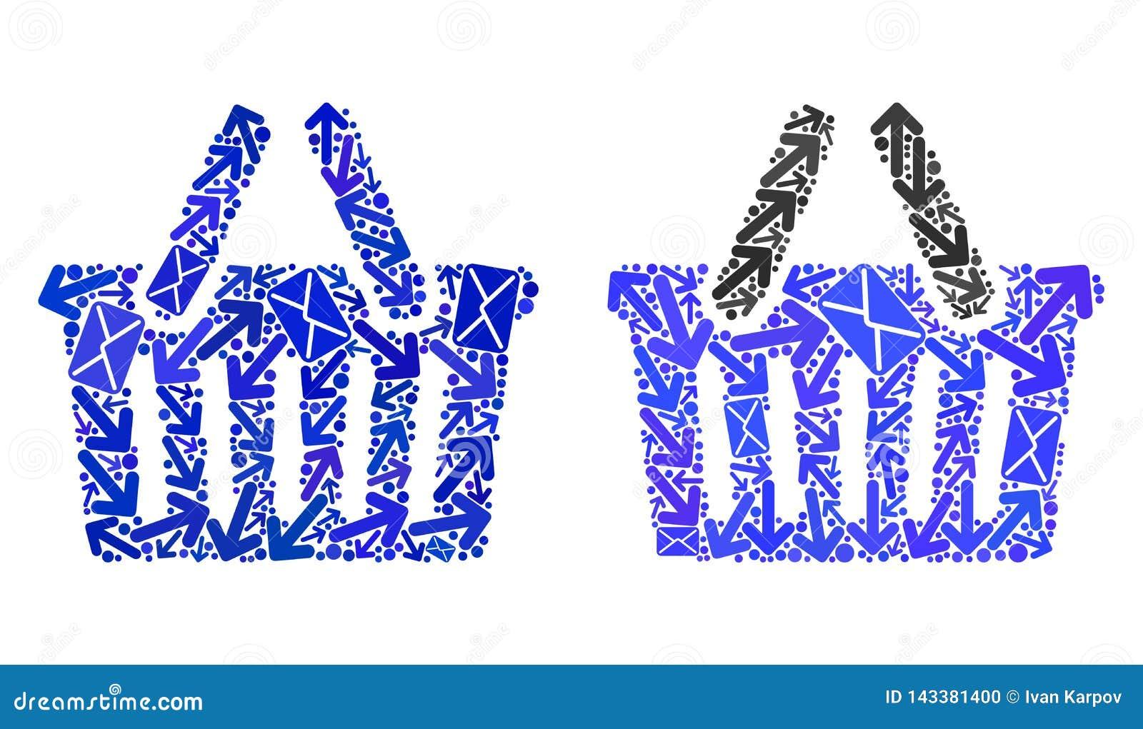 Значки корзины для товаров коллажа троп почты