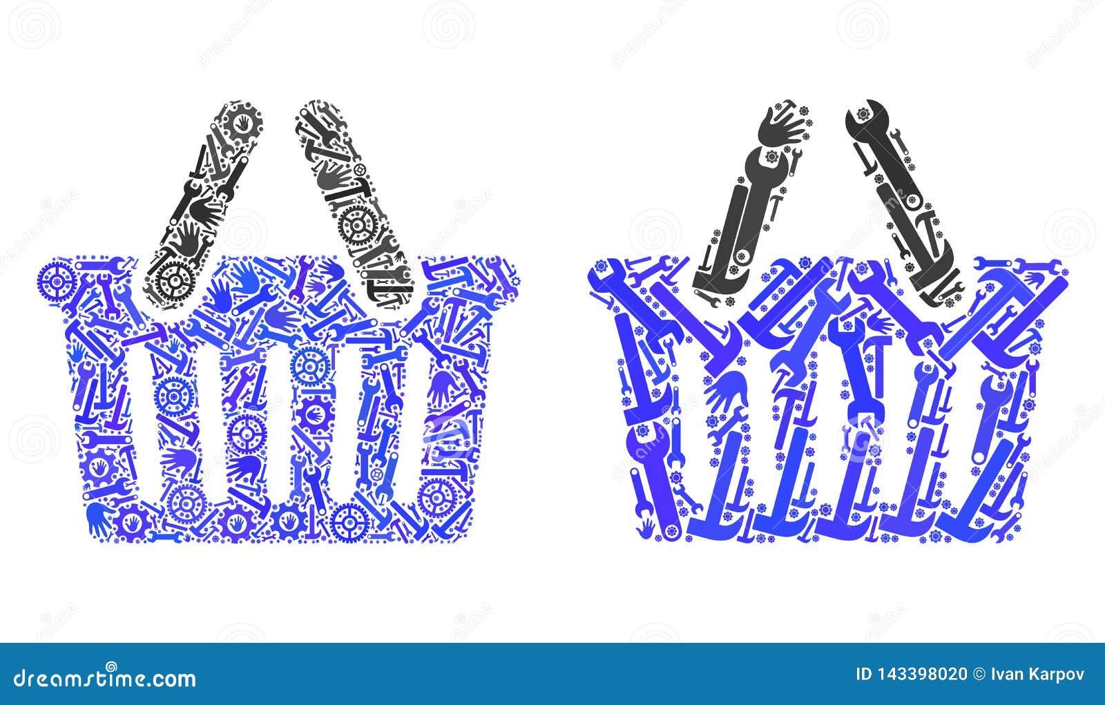 Значки корзины для товаров мозаики инструментов ремонта
