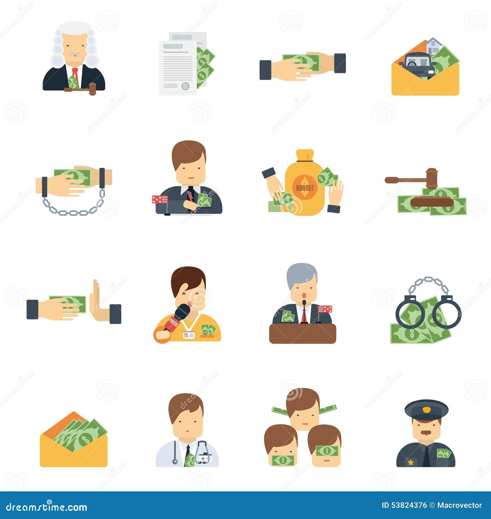 Значки коррупции плоские