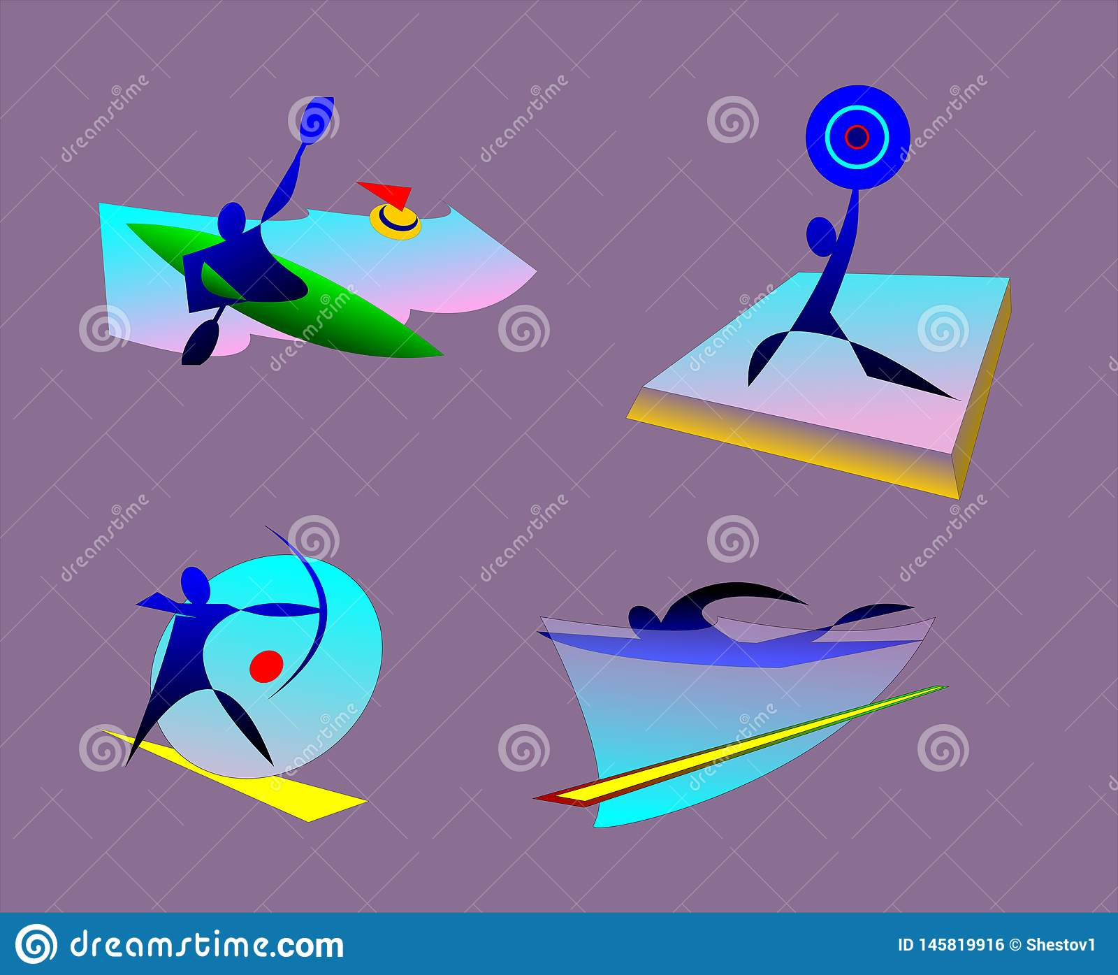 bages of summer olympic sports. kayaking, weightlifting, swimming, archery.