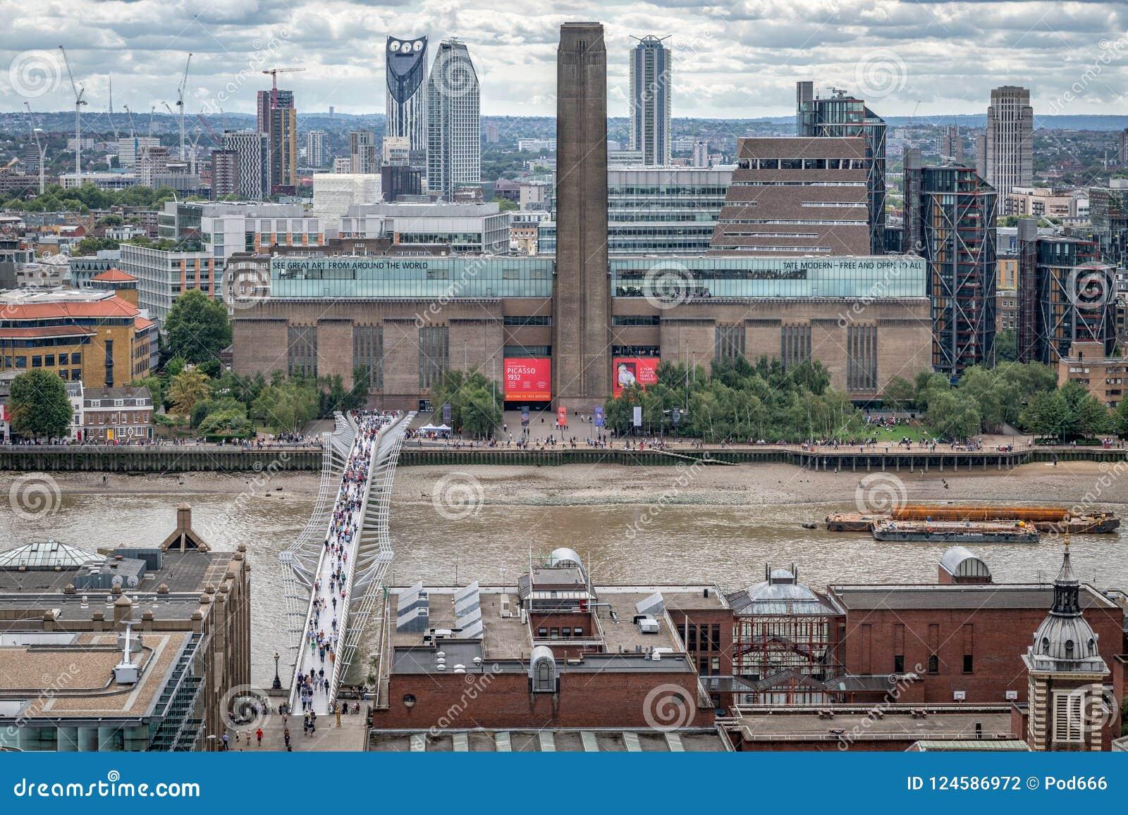 Значки Лондона, Tate современное, мост тысячелетия, река Темза