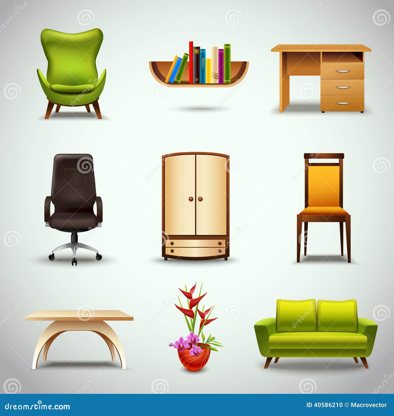 Значки мебели реалистические