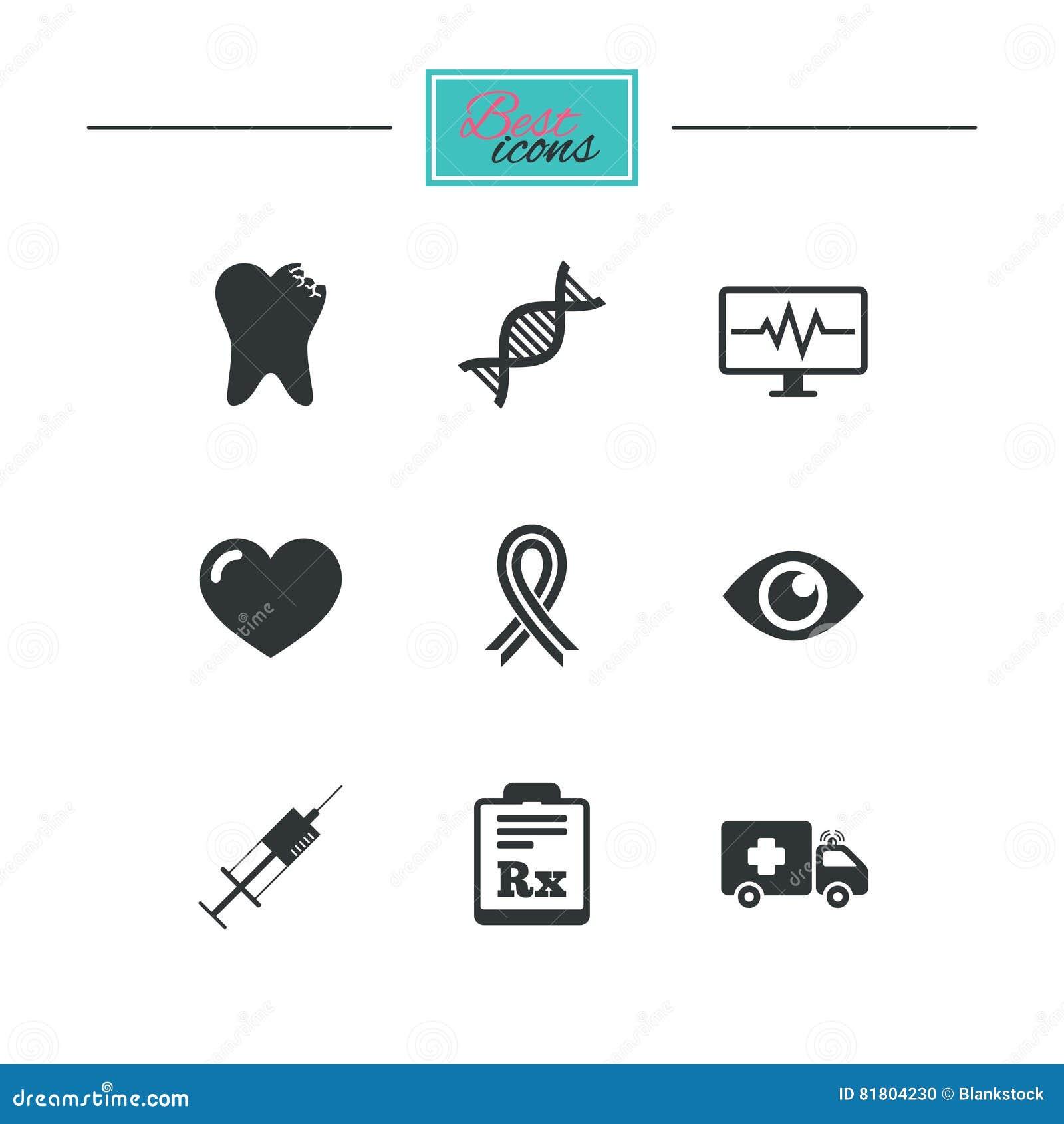 Значки медицины, здравоохранения и диагноза