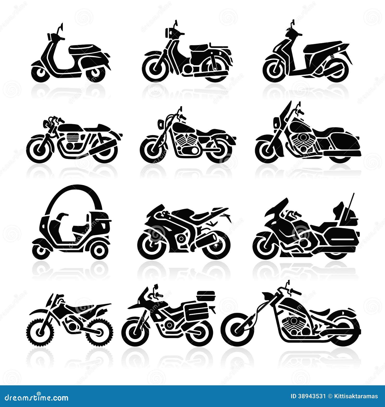 Значки мотоцикла. Иллюстрация вектора.