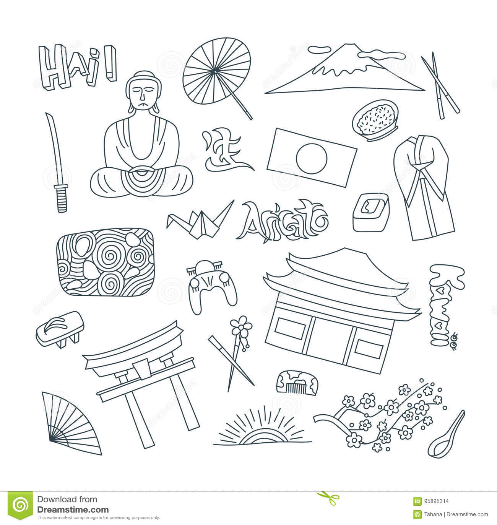 Значки нарисованные рукой с символами Японии - origami сада камня суш риса Будды флага Сакуры кимоно Стикеры, штыри и