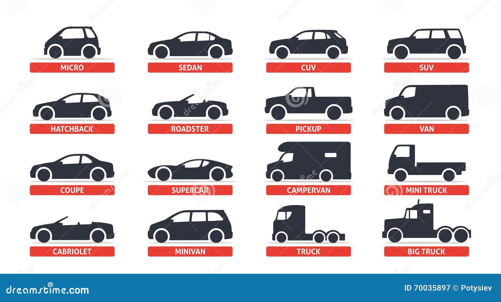 Значки объектов типа и модели автомобиля установили, автомобиль Vector черная иллюстрация на белой предпосылке с тенью Варианты
