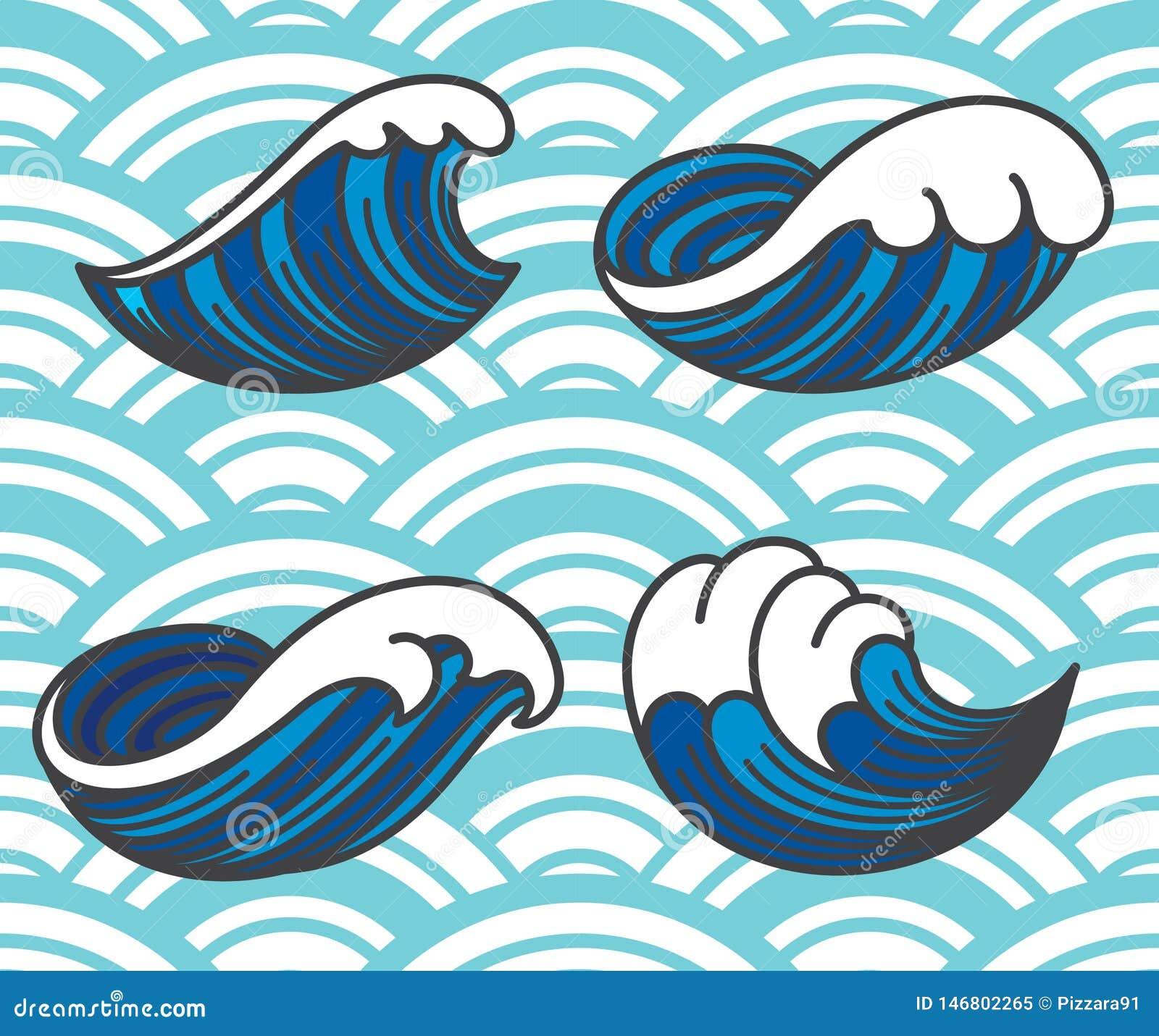 Значки океанской волны
