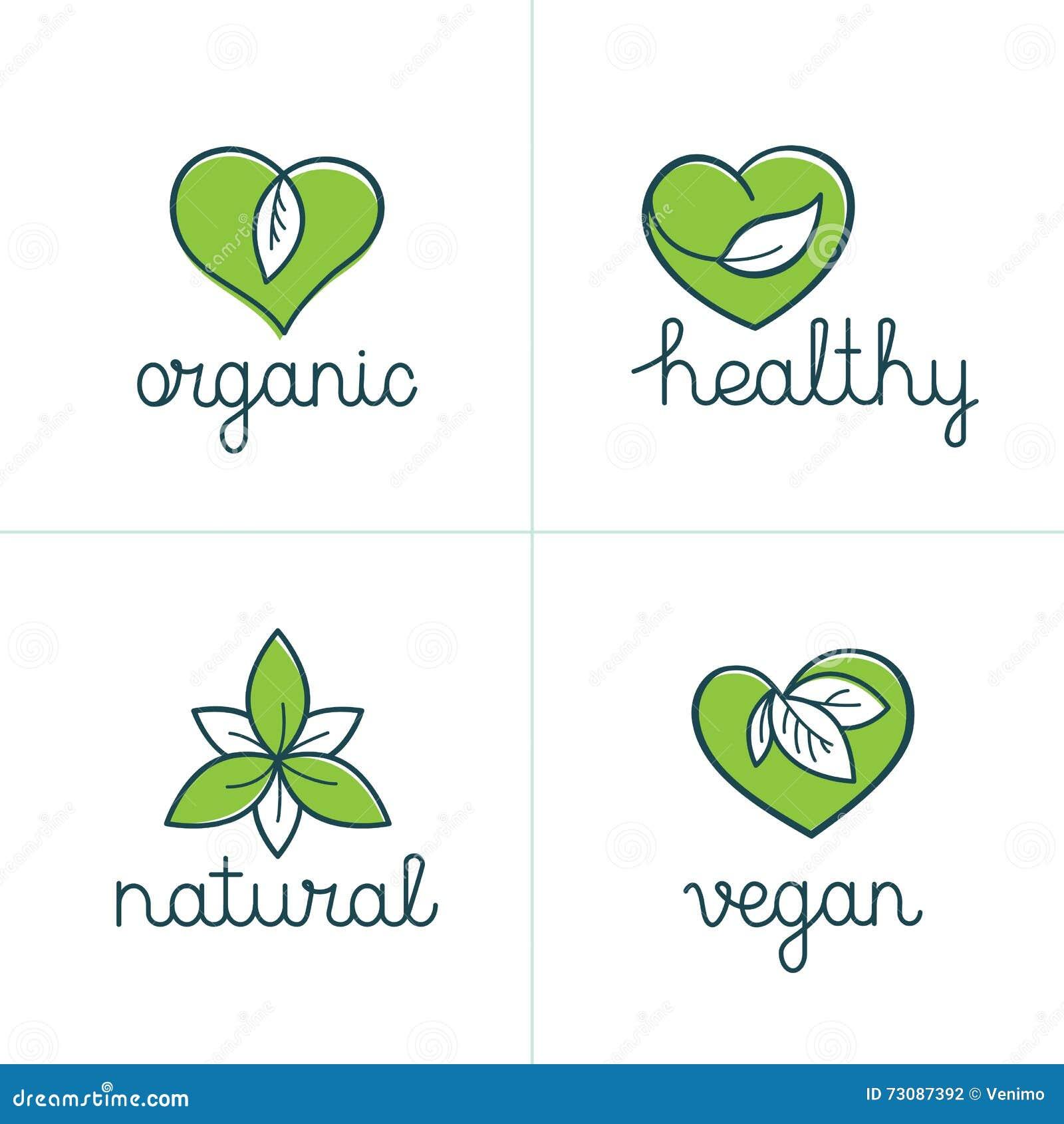 Значки органических, здоровых и vegan - эмблемы для вегетарианской еды