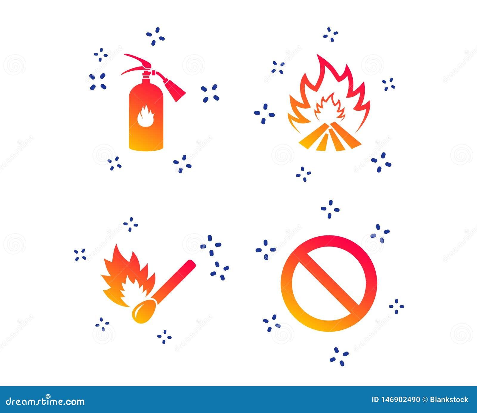 Значки пламени огня Символ стопа запрета r