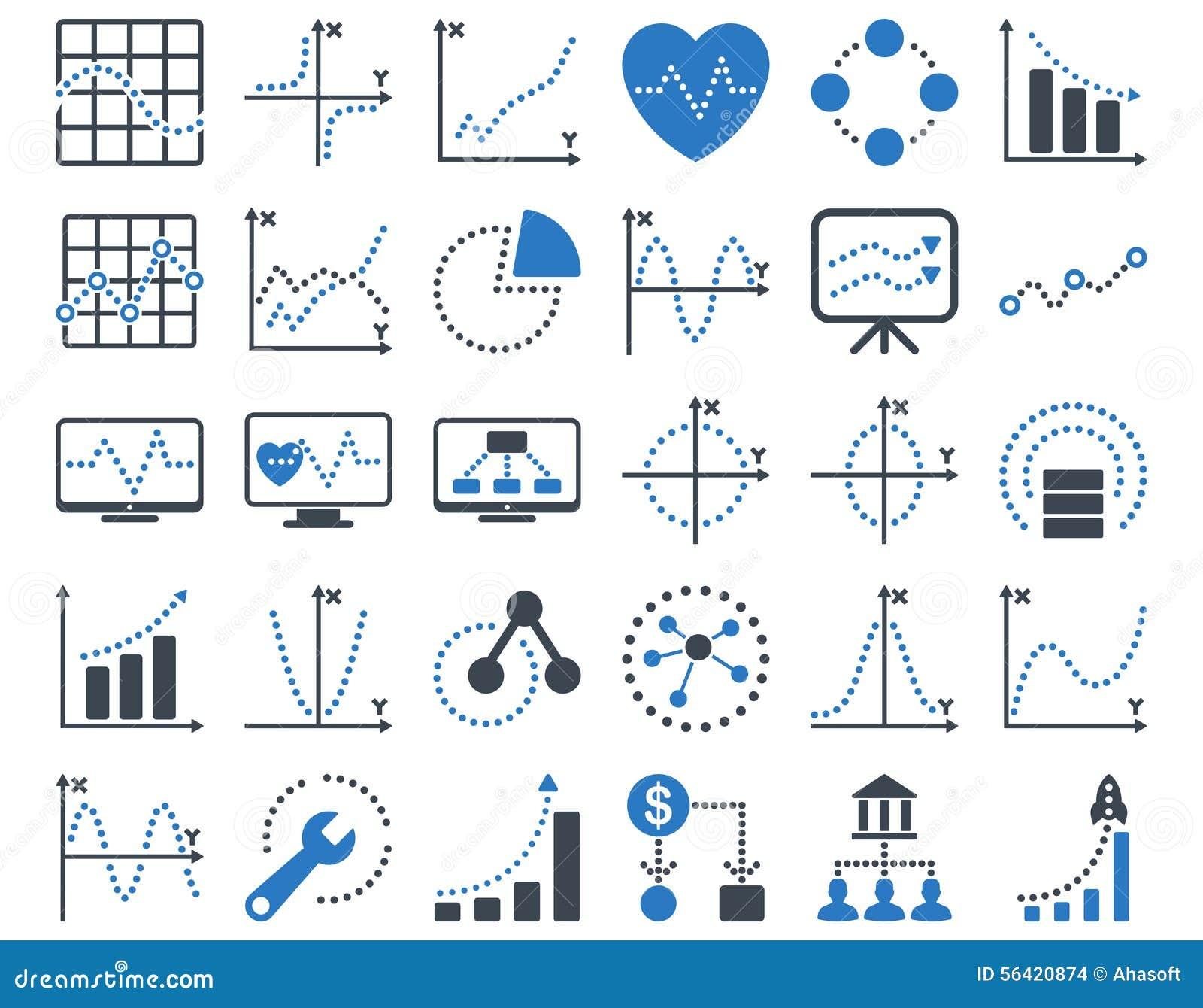 Значки поставленных точки диаграмм