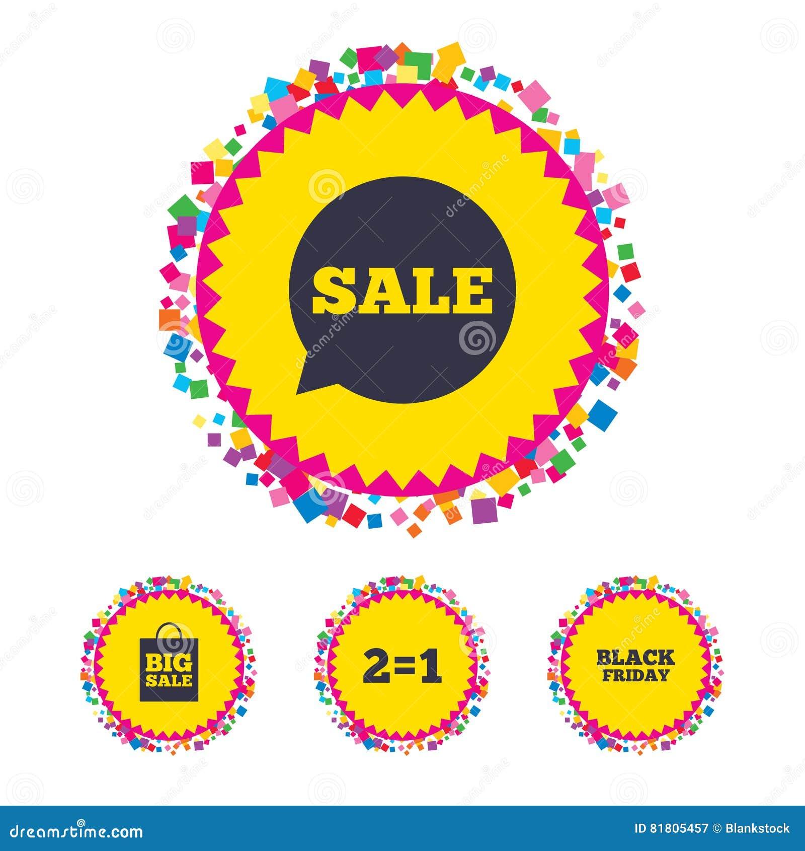 Значки пузыря речи продажи Черный символ пятницы