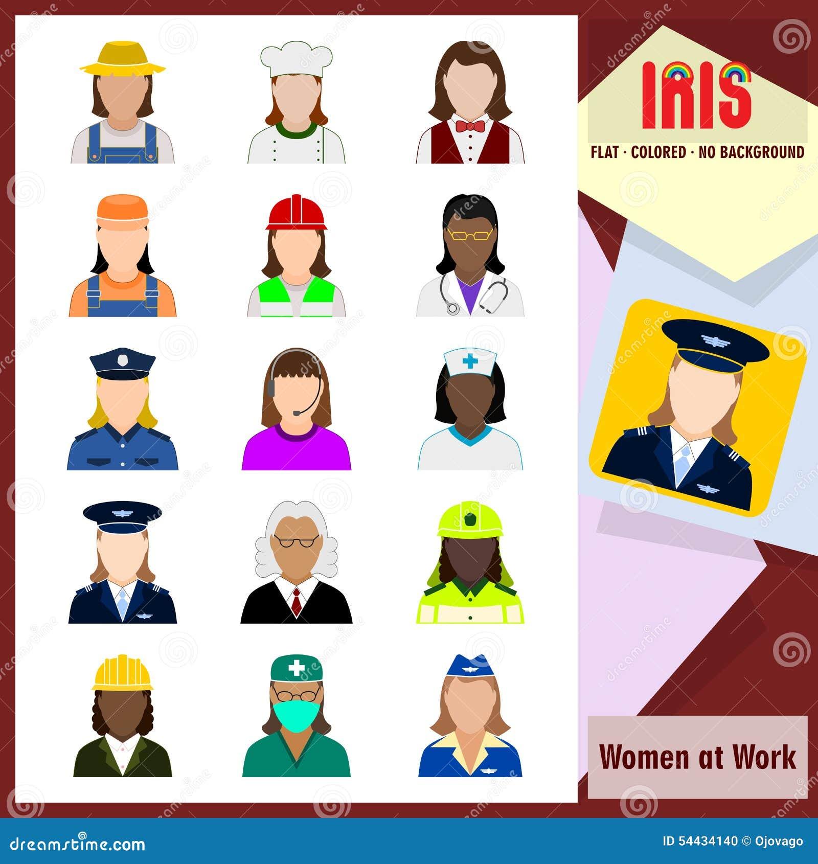 Значки радужки - женщины на работе Красочные плоские значки