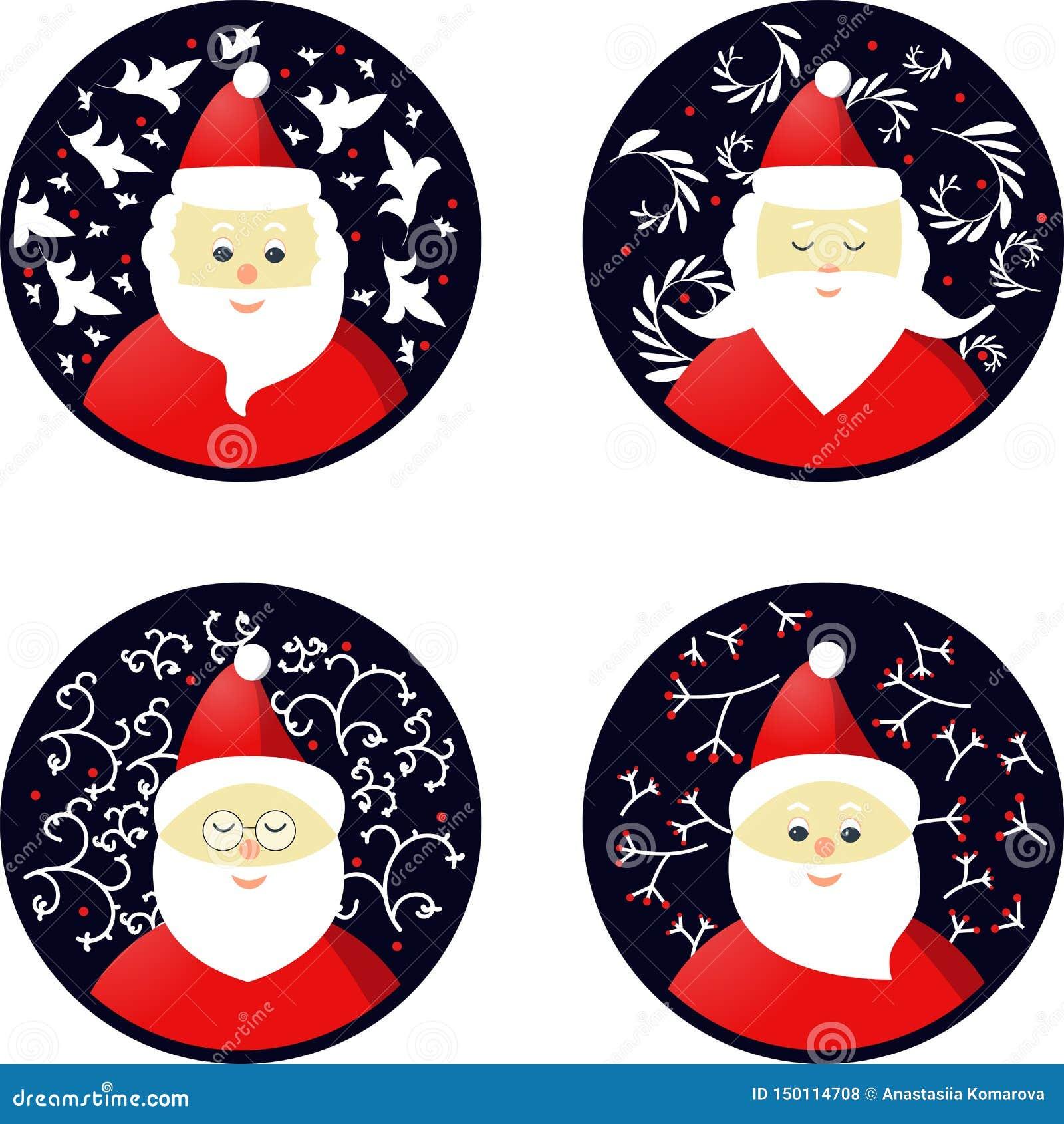 Значки Санта Клауса в игрушках рождества формы
