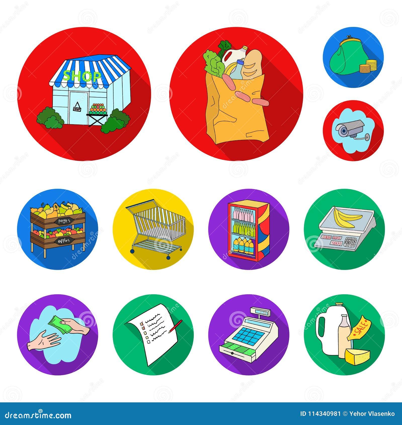 Значки супермаркета и оборудования плоские в собрании комплекта для дизайна Приобретение сети запаса символа вектора продуктов