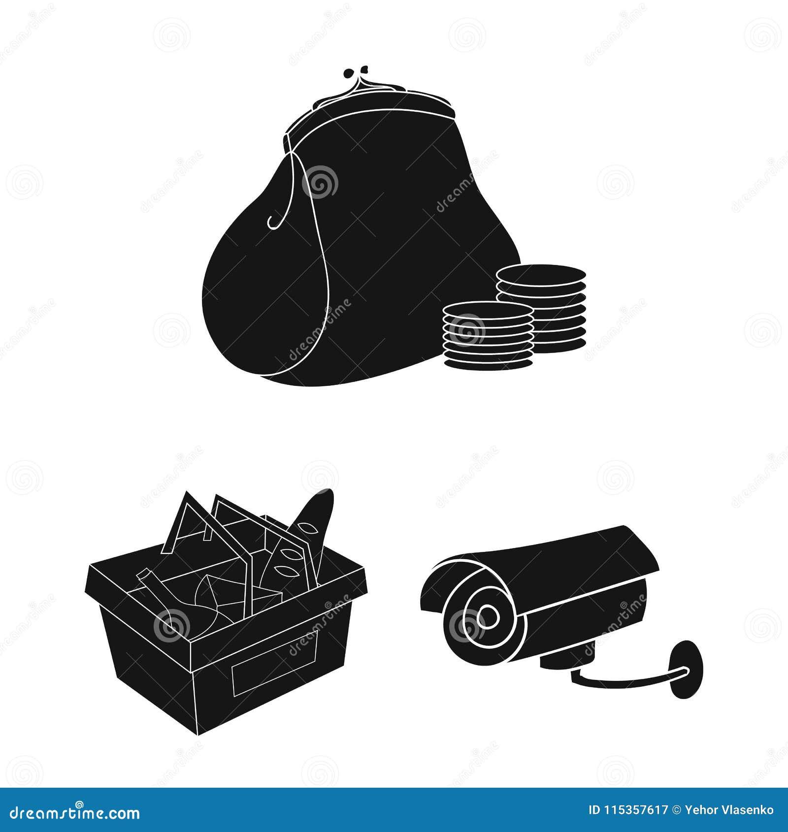 Значки супермаркета и оборудования черные в собрании комплекта для дизайна Приобретение сети запаса символа вектора продуктов