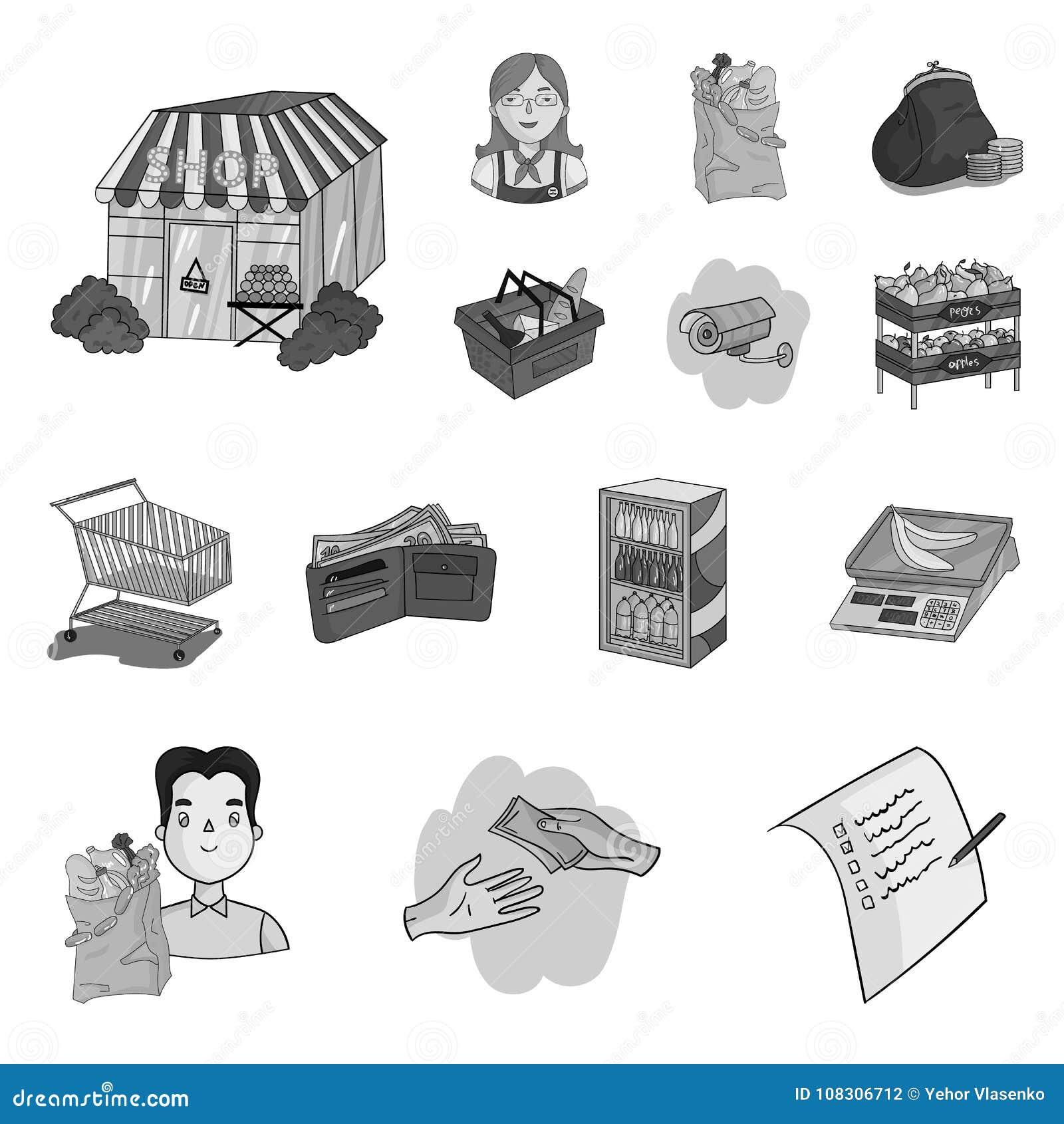 Значки супермаркета и оборудования monochrome в собрании комплекта для дизайна Приобретение сети запаса символа вектора продуктов