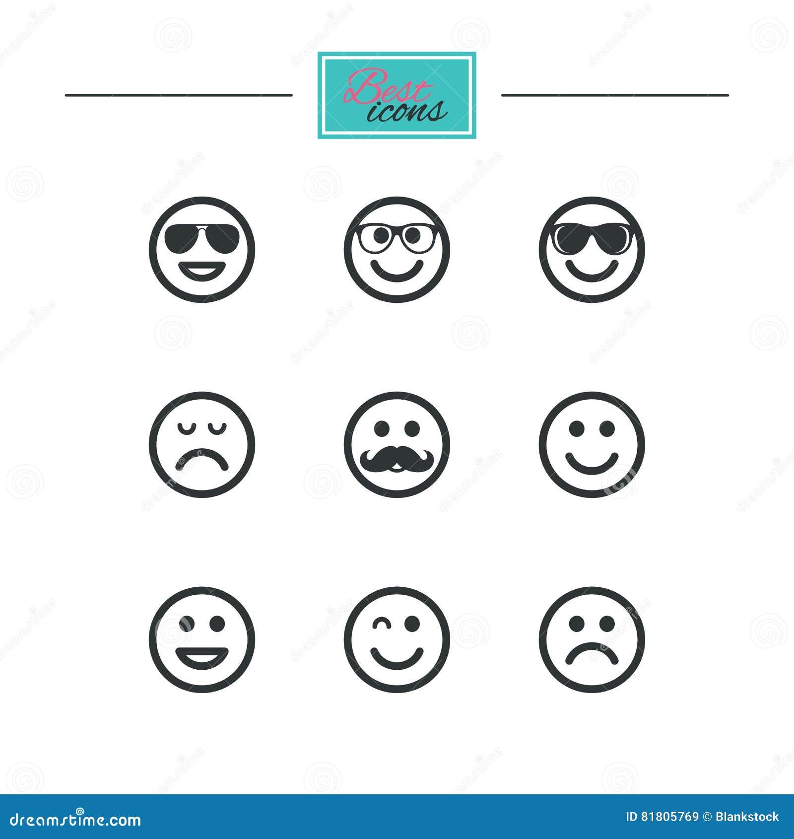 Значки улыбки Солнечные очки, усик и смеяться над