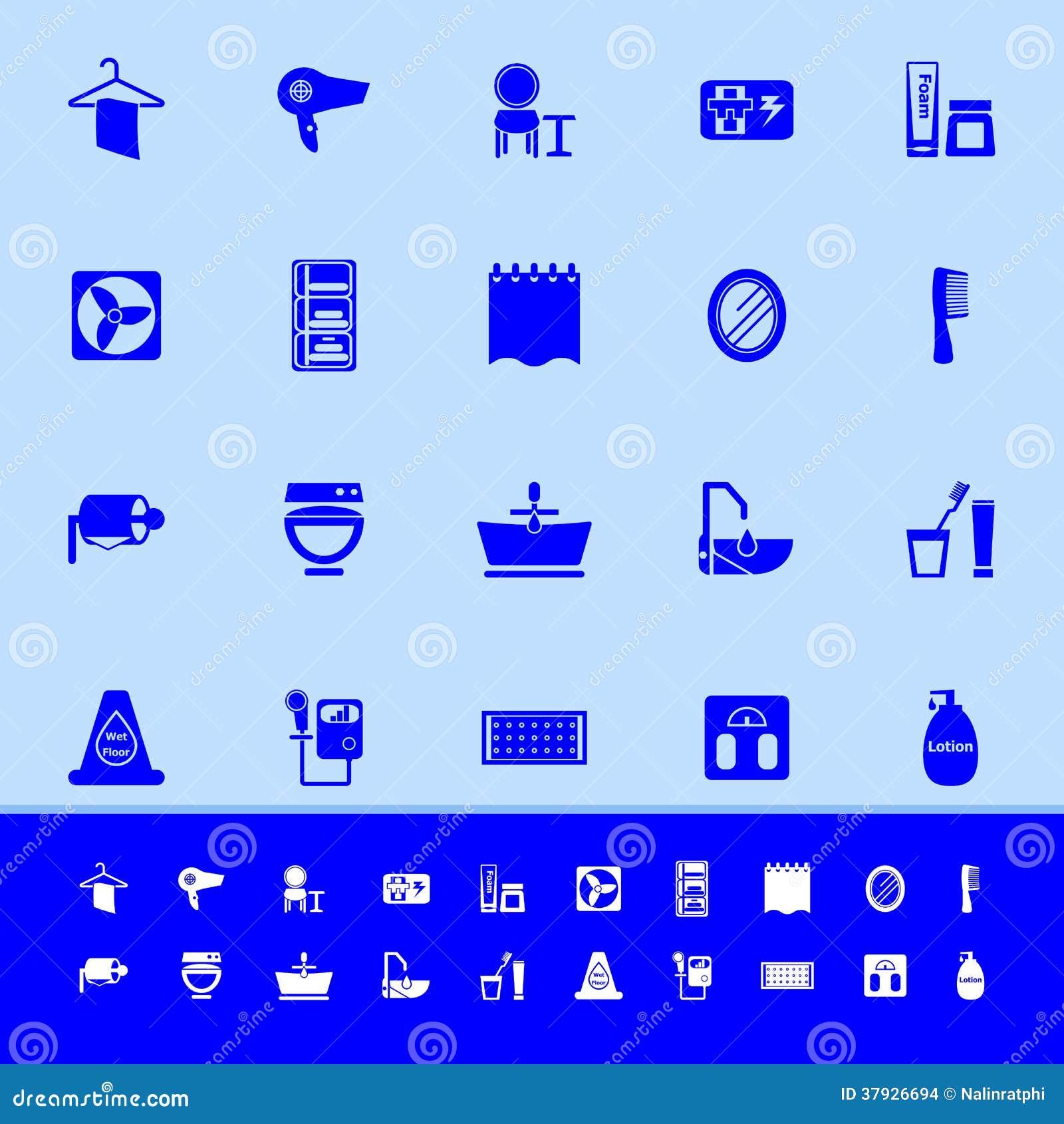 Значки цвета ванной комнаты на голубой предпосылке