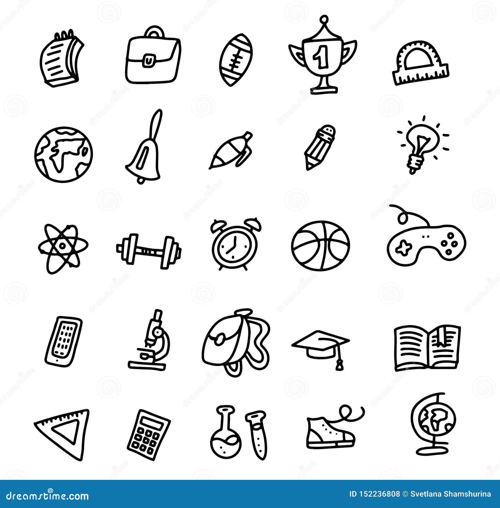 Значки школы E Набор значка Doodle руки вычерченный Схематичный мультфильм плана вектора установил объектов и символов школы