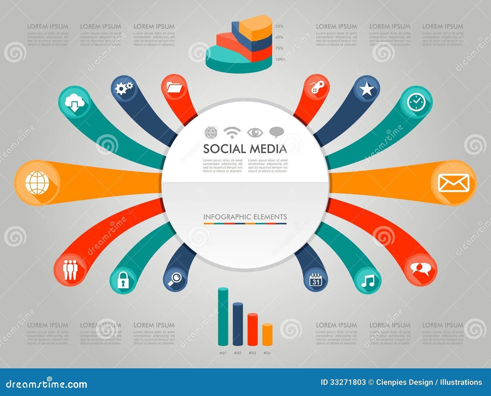 Значки il средств массовой информации цветастой диаграммы Infographic социальные