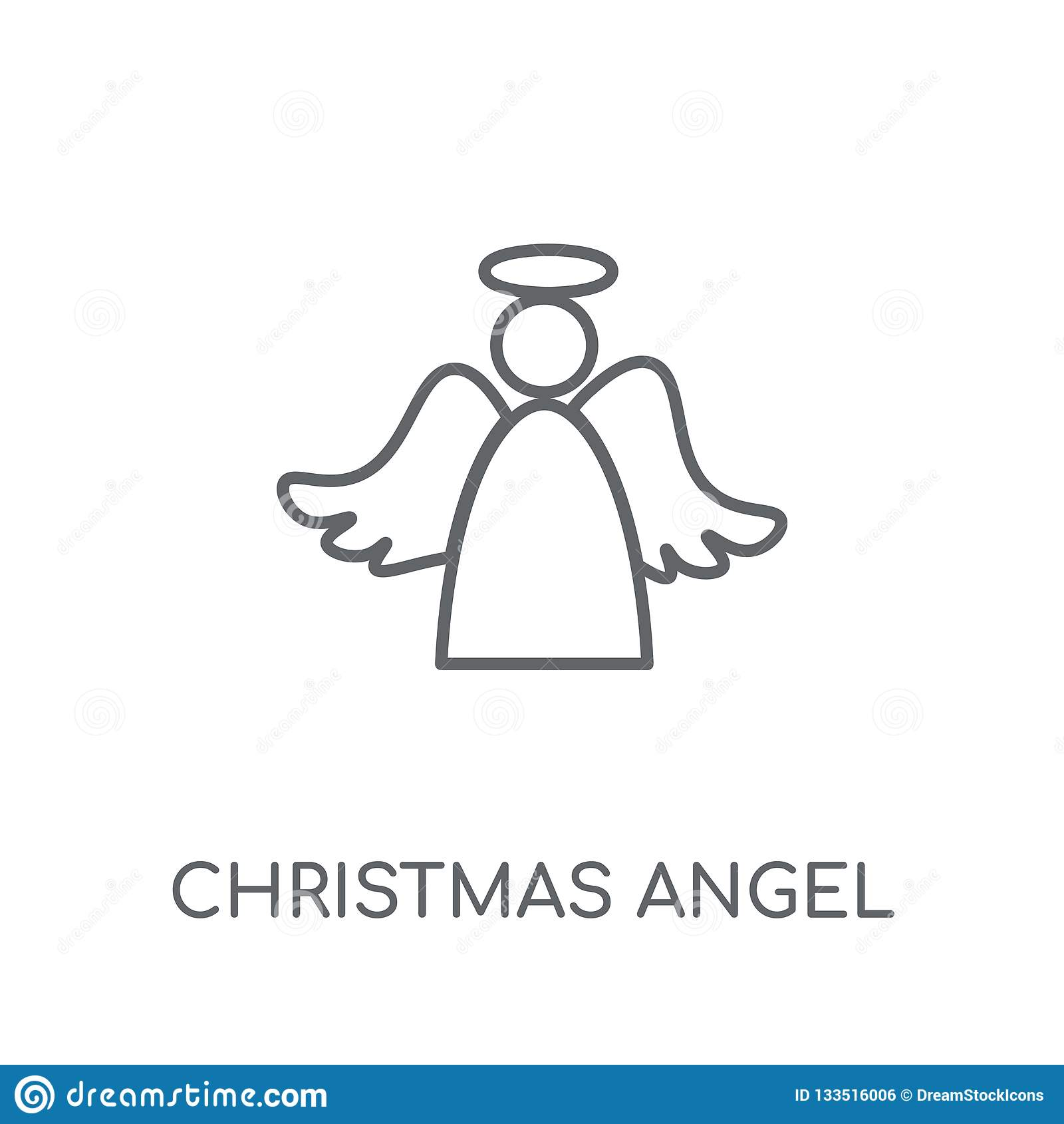 Значок ангела рождества линейный Современный логотип ангела рождества плана