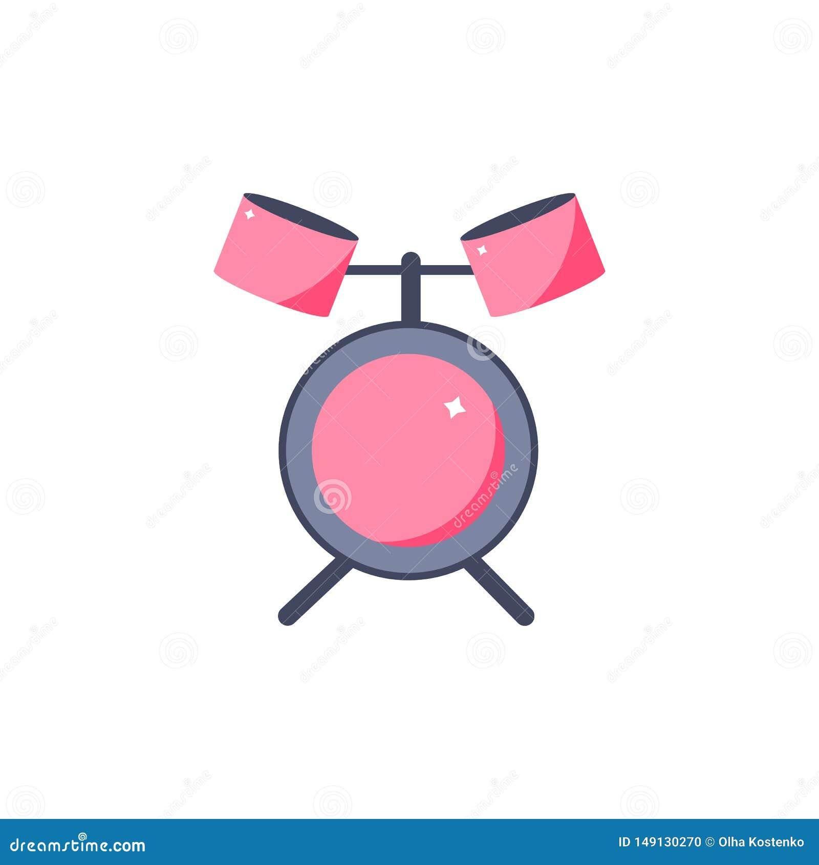 Значок барабанчика в стиле мультфильма аппаратура музыки