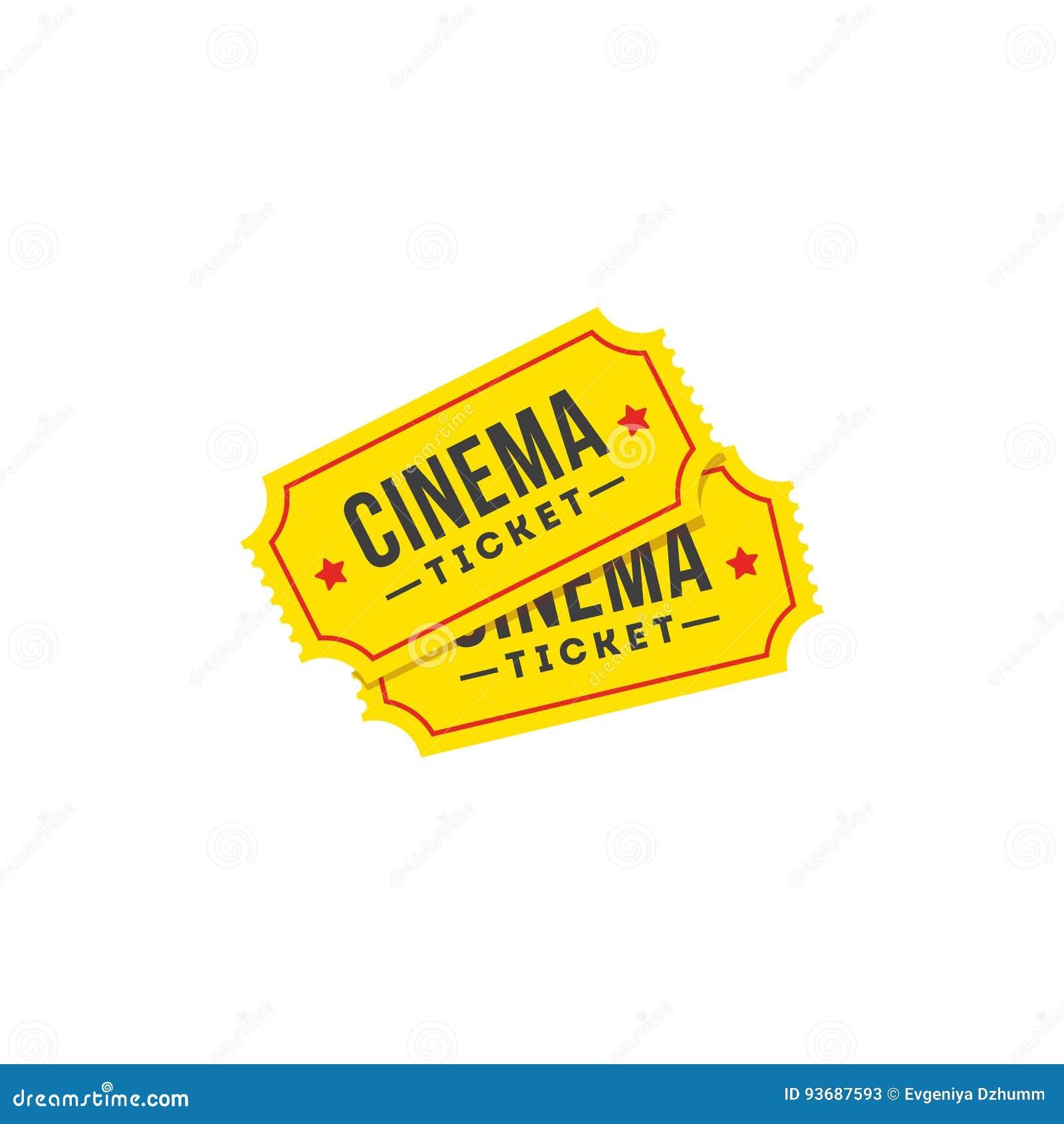 Значок билета входа в плоском стиле Комплект значка кино
