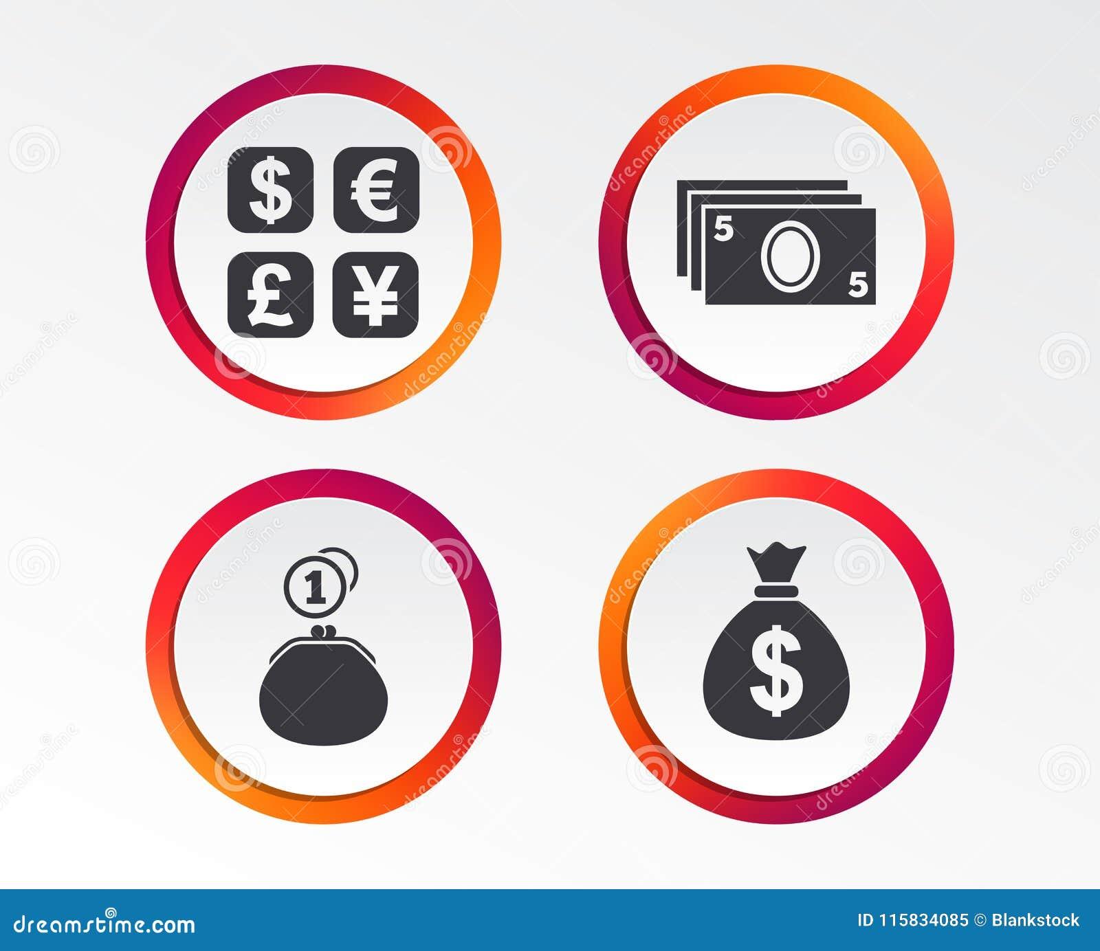 Значок валютной биржи Сумка денег наличных денег, бумажник