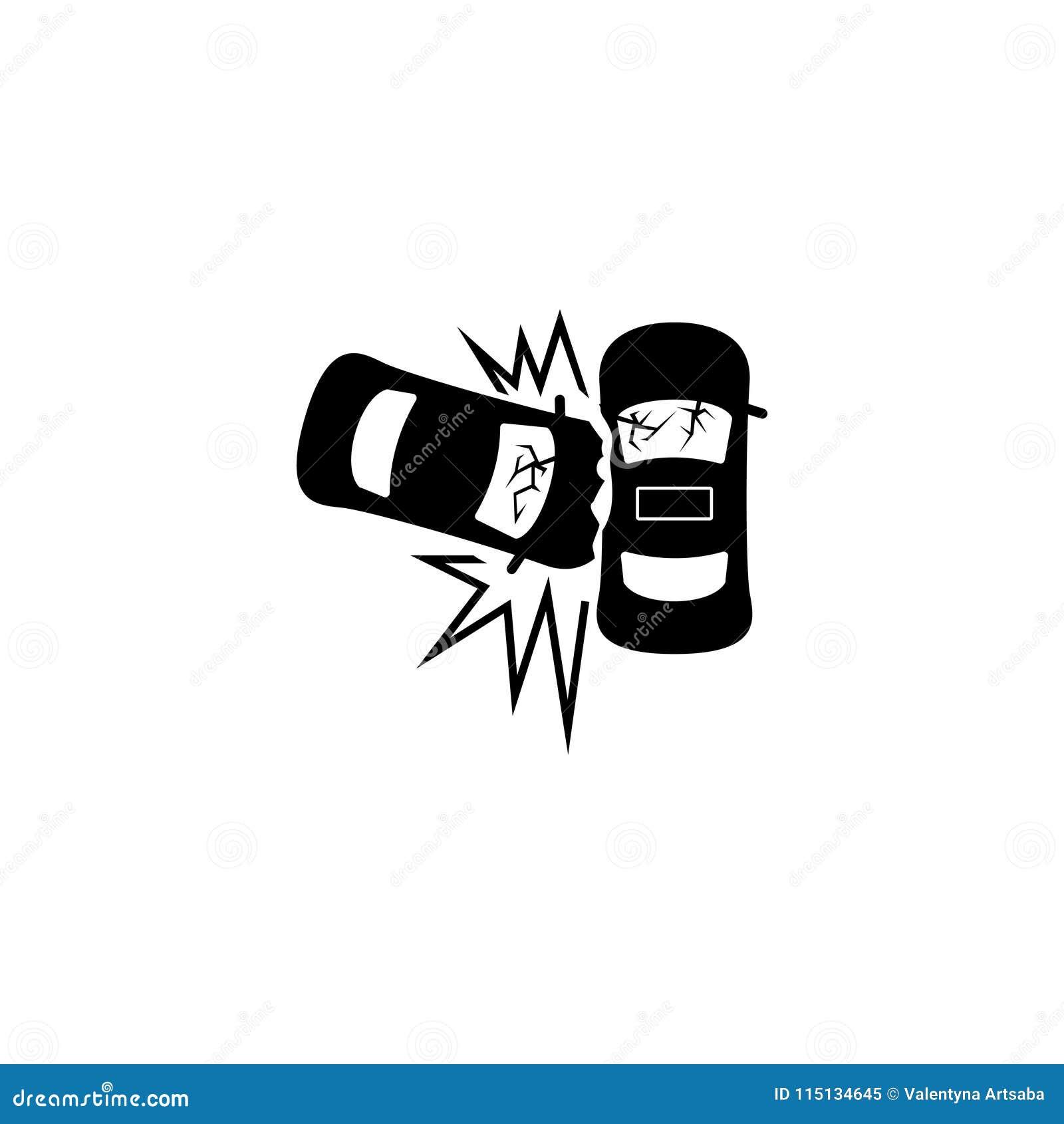 Значок вектора аварии автокатастрофы плоский