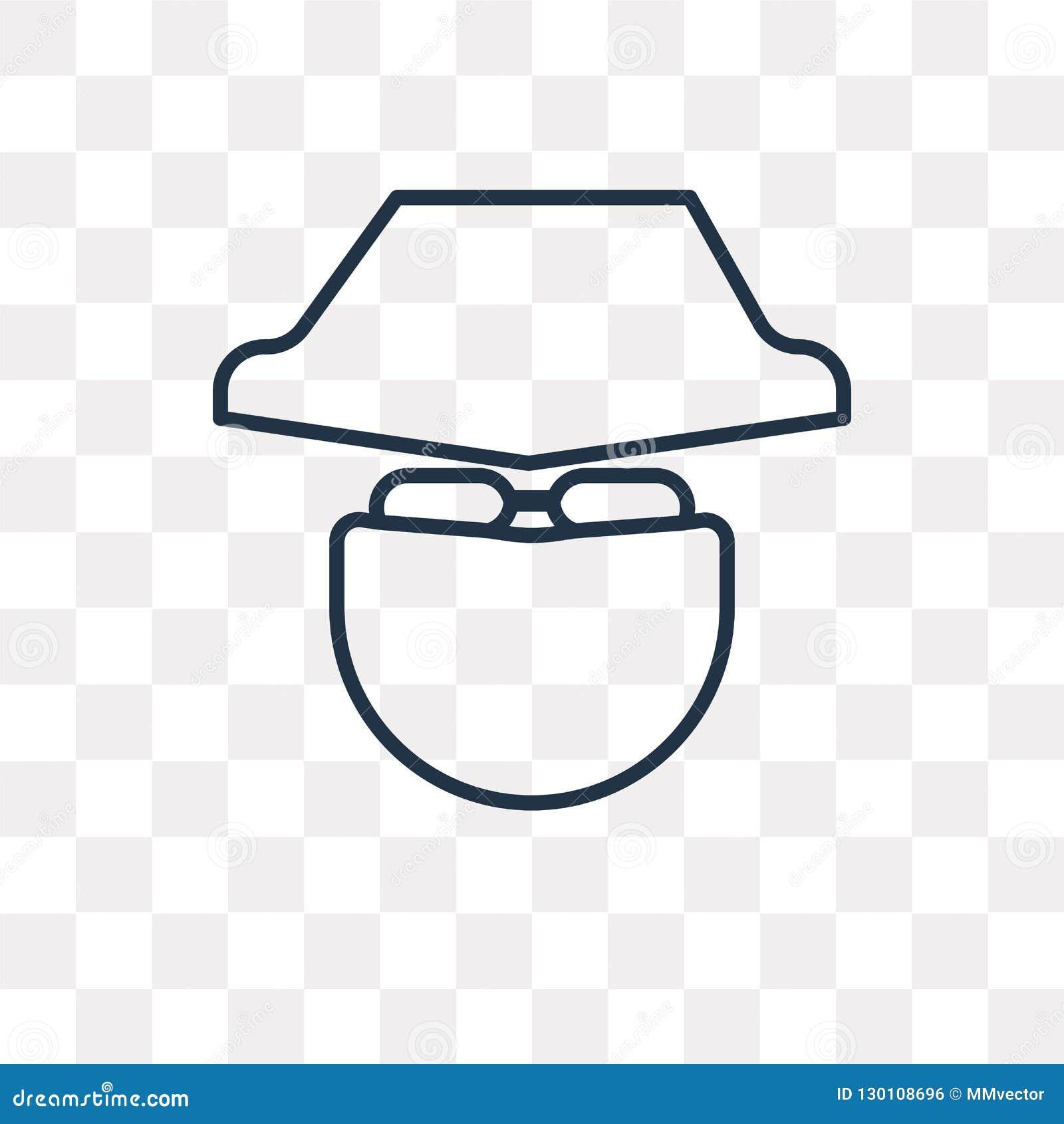 Значок вектора анонимности изолированный на прозрачной предпосылке, линейной