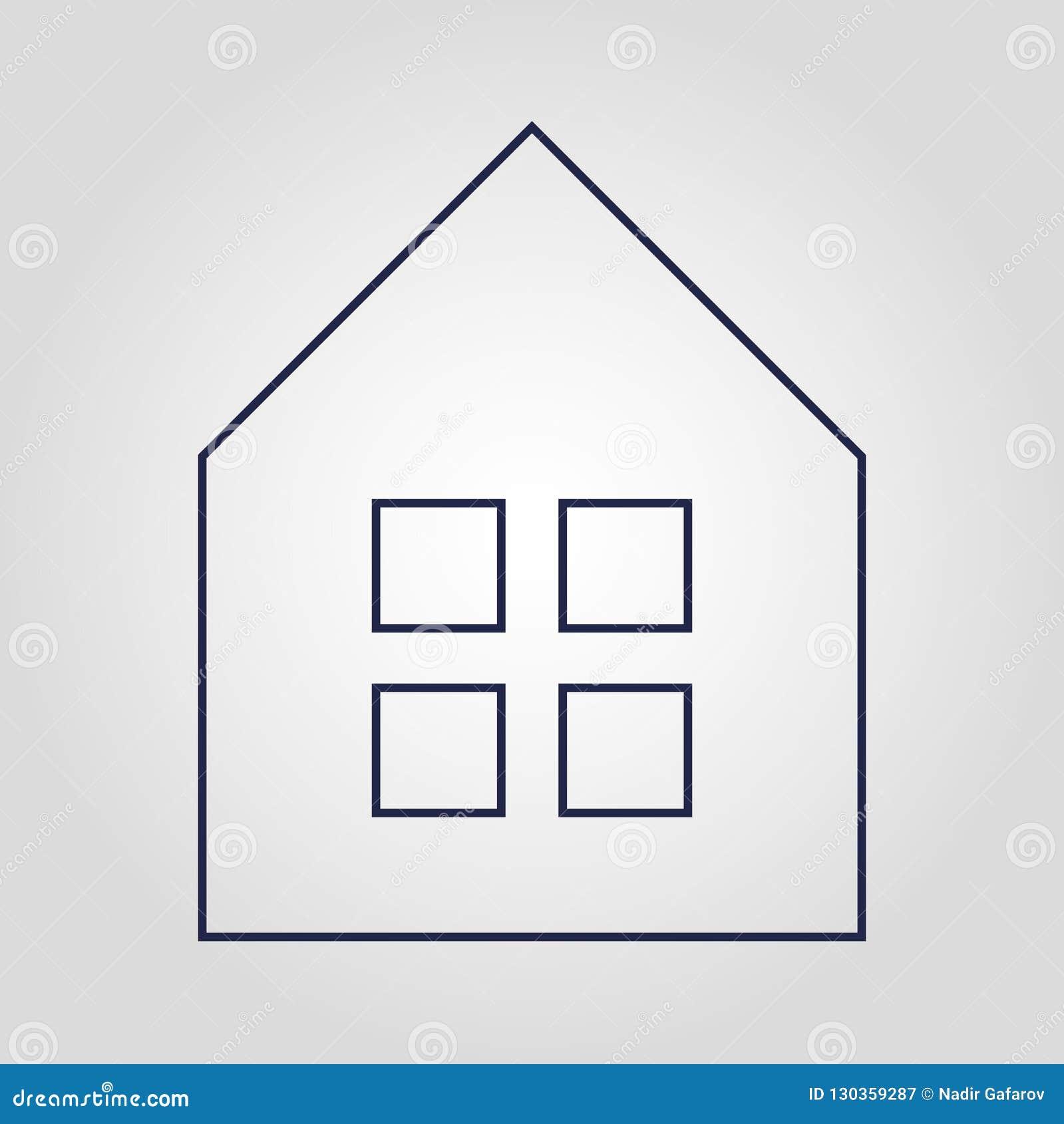 Значок вектора дома любов изолированный значком плоский линейный на белой безопасности предпосылки