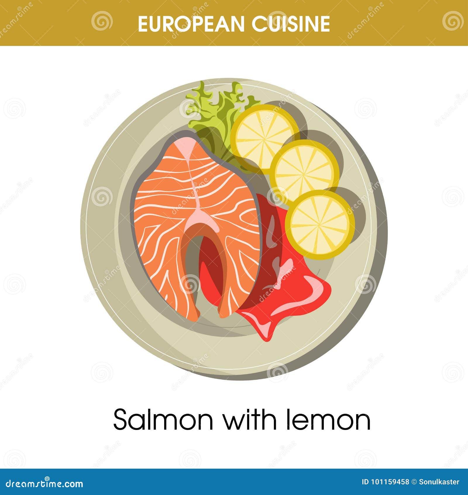 Значок вектора еды блюда европейских рыб кухни salmon традиционный для меню ресторана